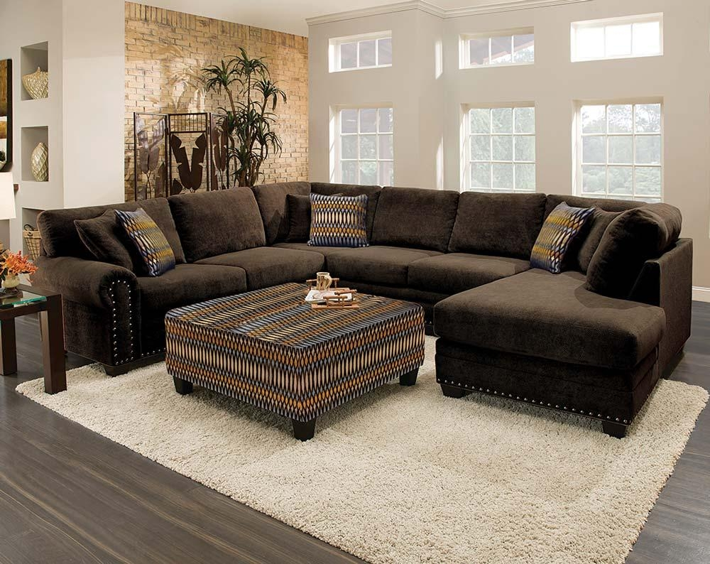 2018 latest chocolate brown sectional sofa ideas for Brown sectional sofa with chaise