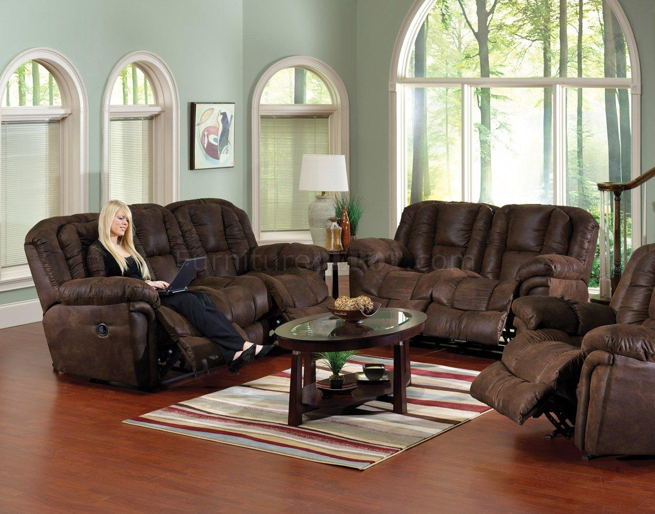 Chocolate Faux Leather Contour Reclining Sofa & Loveseat Set For Reclining Sofas And Loveseats Sets (Image 3 of 20)