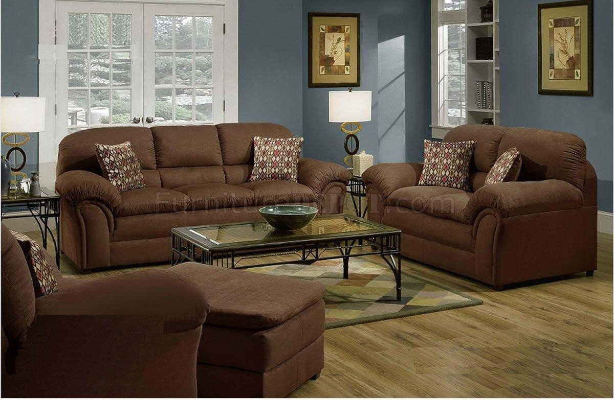 Chocolate Microfiber Contemporary Sofa & Loveseat Setsimmons With Simmons Sofas (Image 1 of 20)