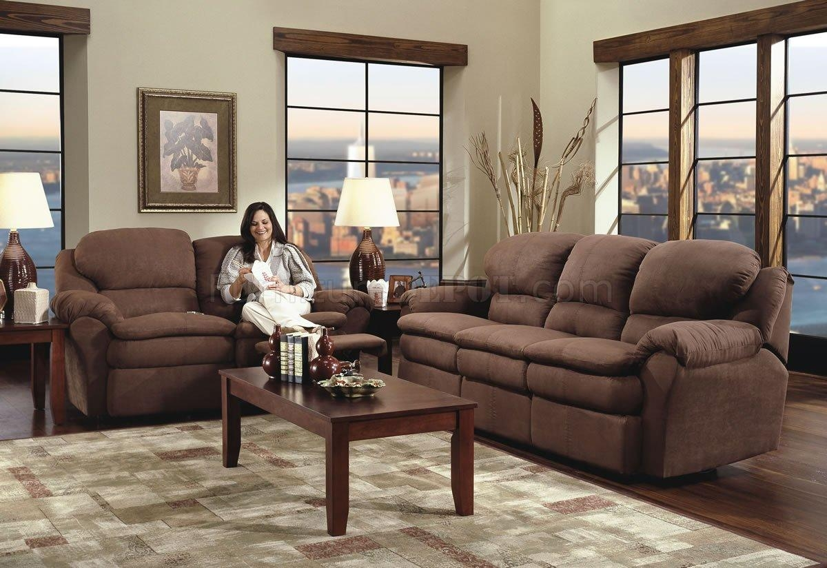 Chocolate Microfiber Modern Double Reclining Sofa & Loveseat Set With Regard To Reclining Sofas And Loveseats Sets (Image 4 of 20)