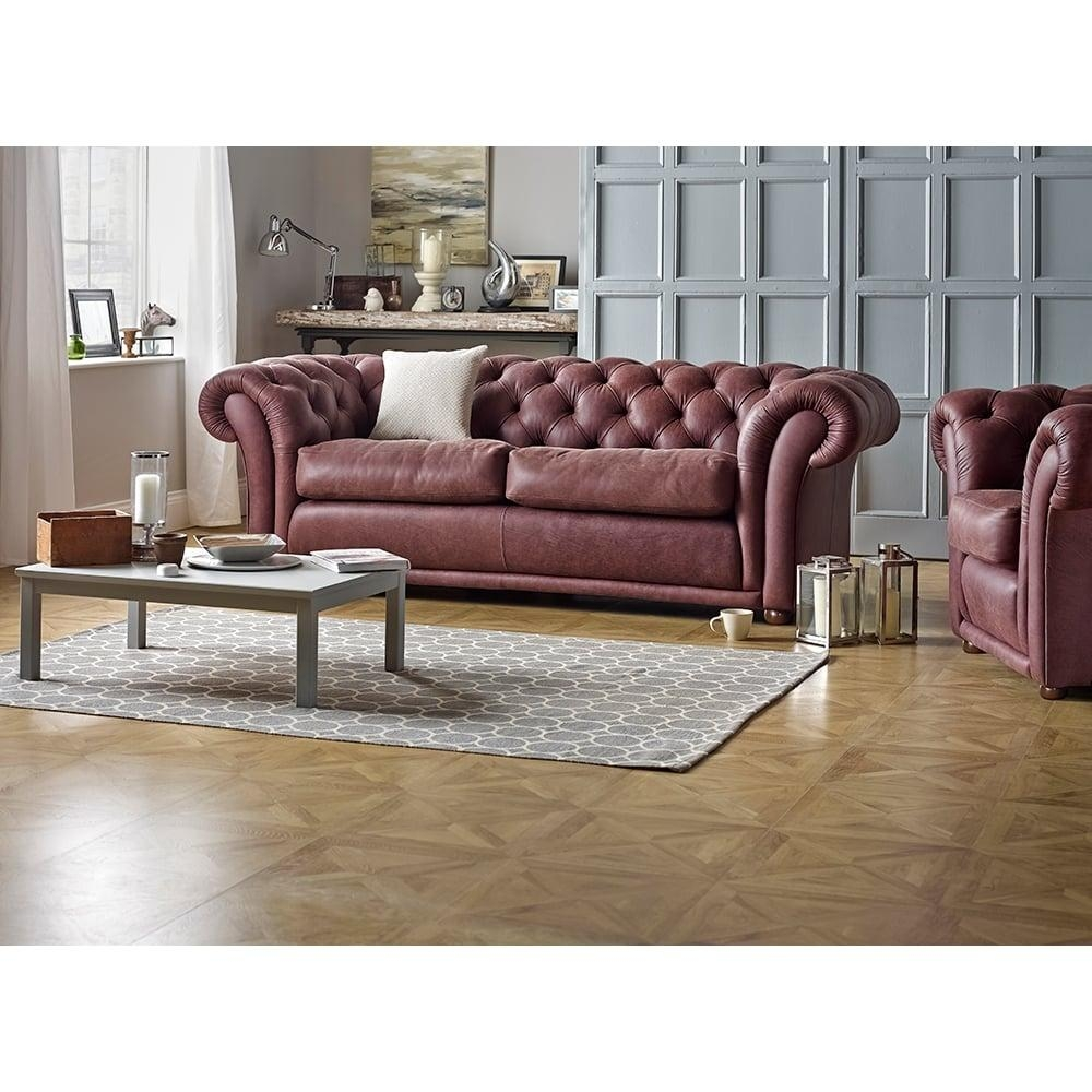 Churchill 3 Seater Sofa In Antique Chestnut – From Sofassaxon Uk Inside Churchill Sofas (Image 7 of 20)