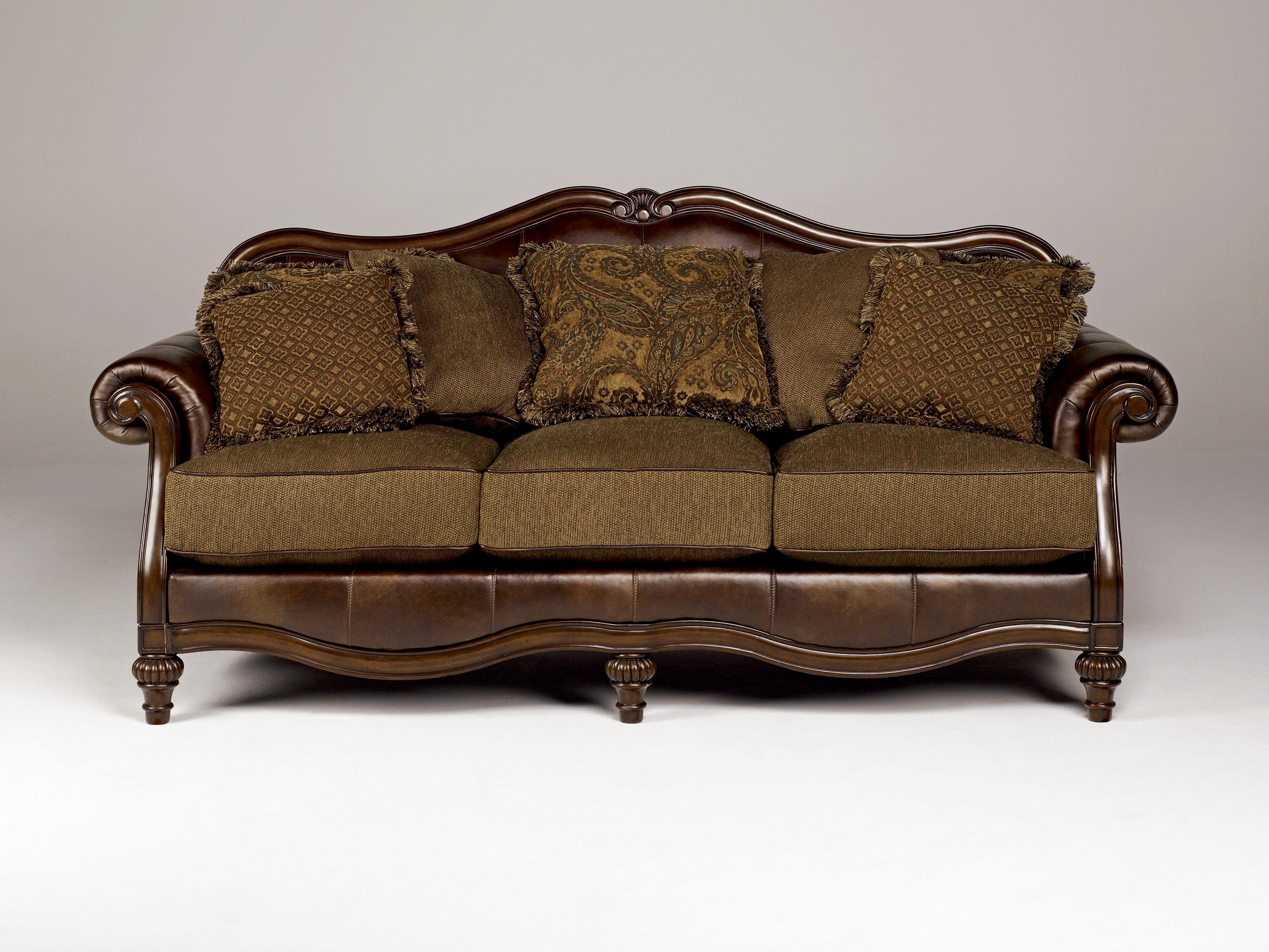 Claremore Traditional Antique Fabric Sofa W/pillow Back | Living With Regard To Antique Sofa Chairs (Image 8 of 20)