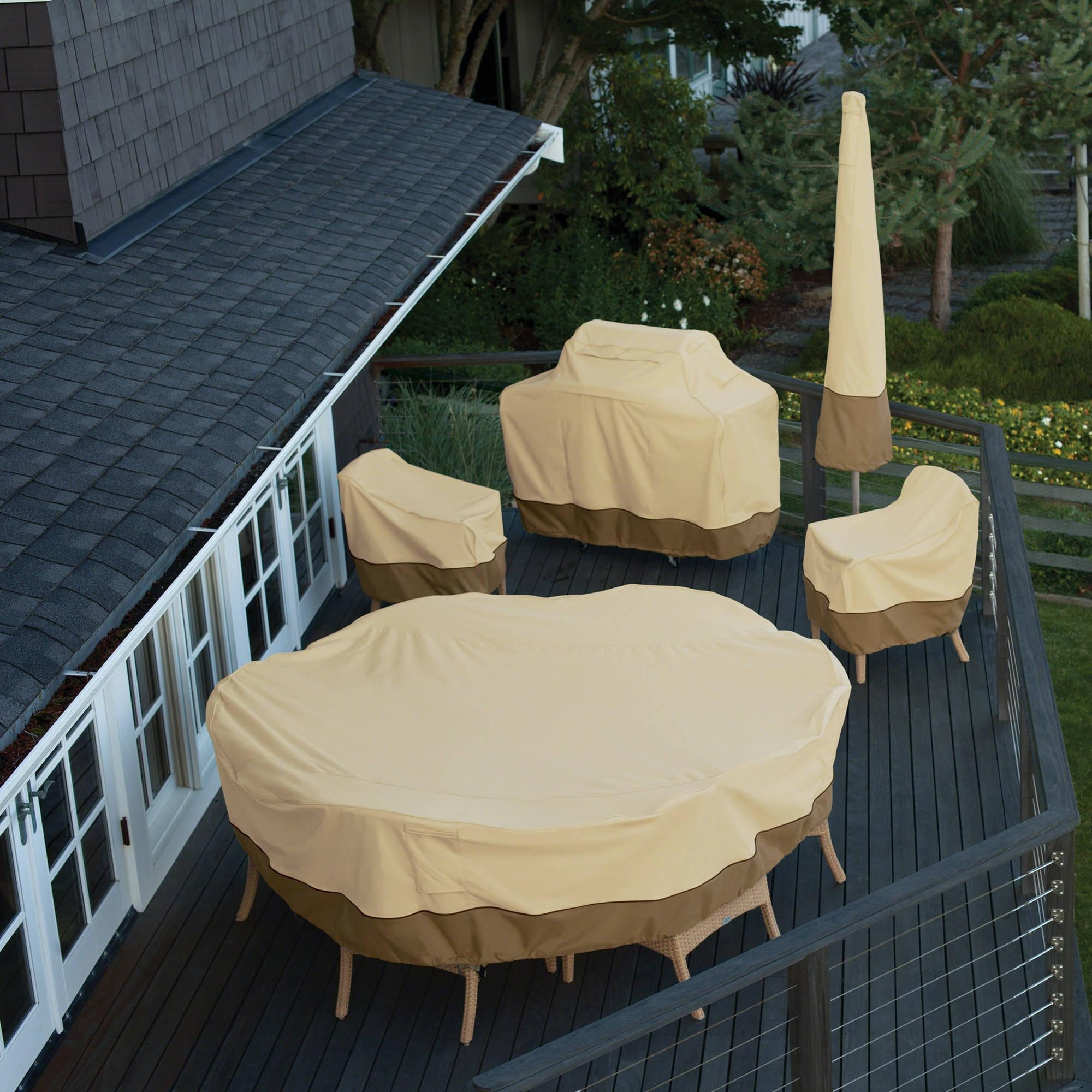 Classic Accessories Veranda Round Patio Table & Chair Set Cover For Garden Sofa Covers (View 18 of 22)