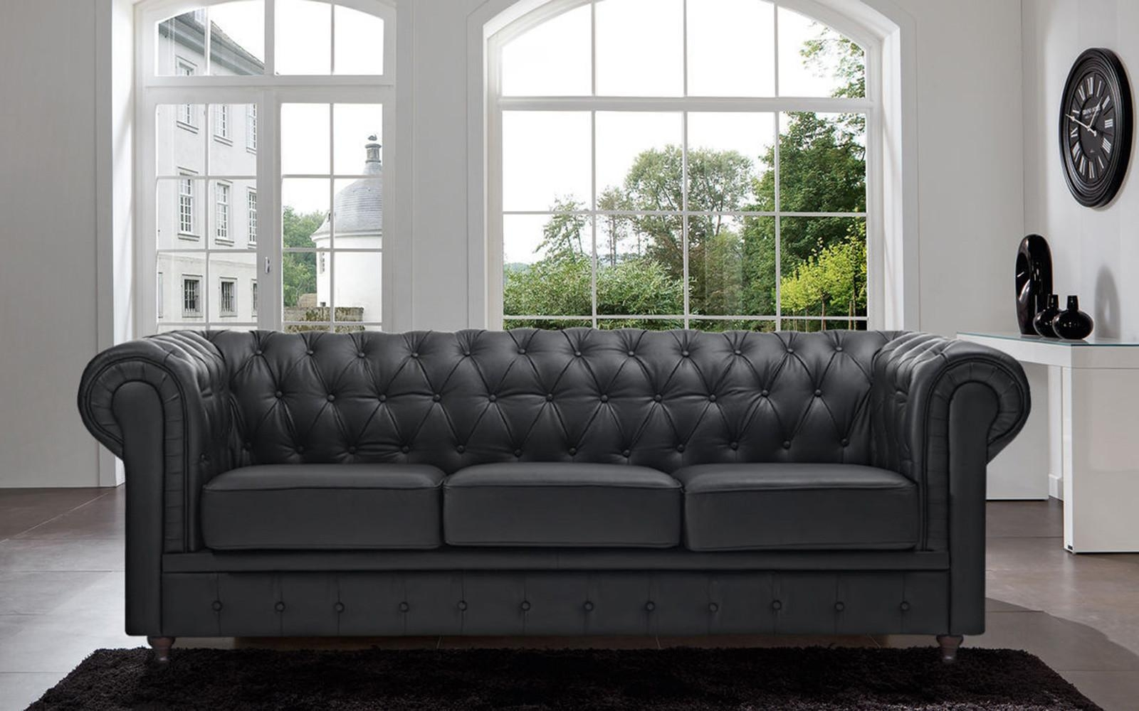 Classic Scroll Arm Tufted Bonded Leather Chesterfield Large Sofa Intended For Bonded Leather Sofas (Image 10 of 20)