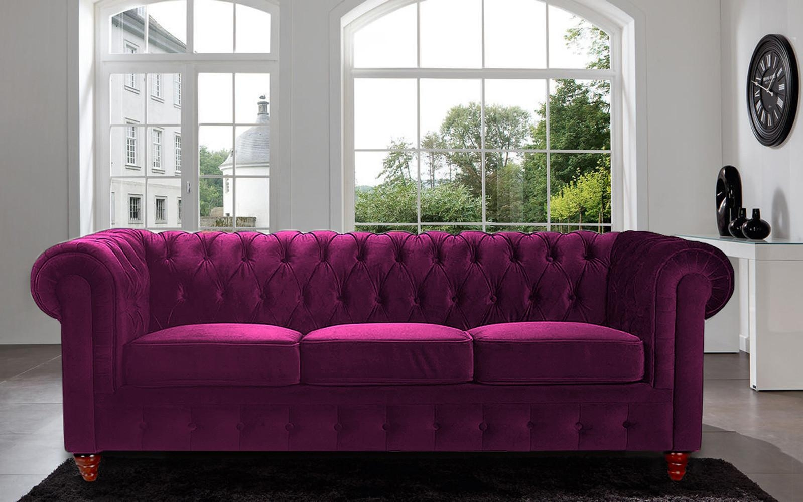 Classic Scroll Arm Tufted Velvet Chesterfield Large Sofa – Walmart Throughout Velvet Purple Sofas (Image 5 of 20)