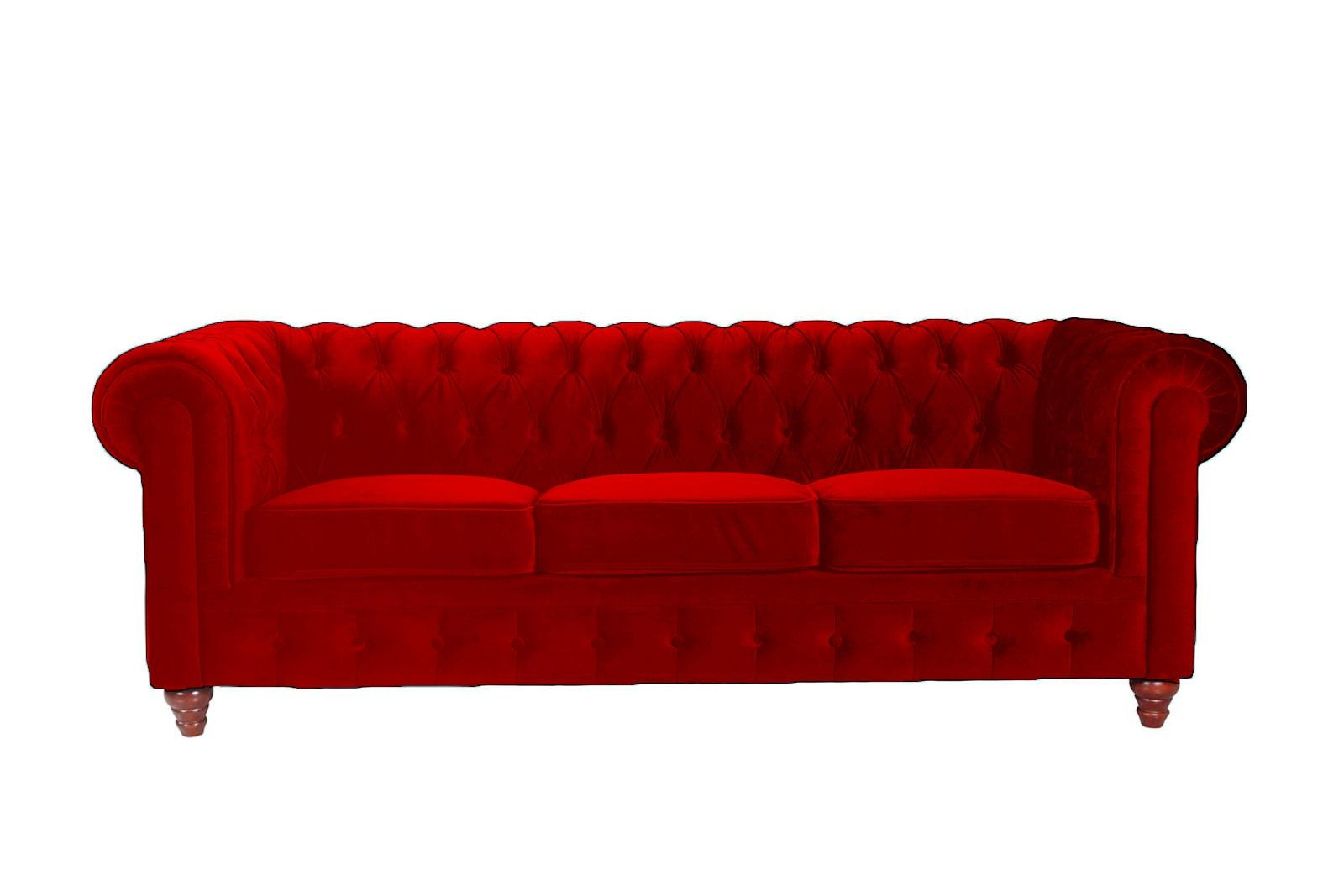 Classic Scroll Arm Tufted Velvet Chesterfield Large Sofa – Walmart With Red Chesterfield Sofas (Image 8 of 20)