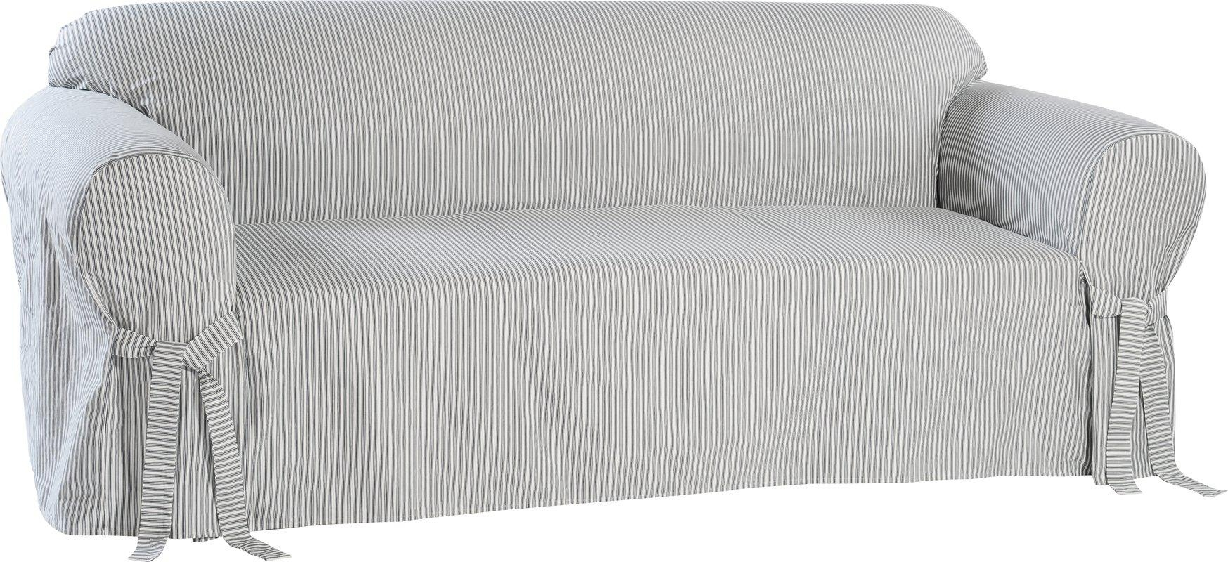 Classic Slipcovers Stripe Twill Sofa Slipcover & Reviews | Wayfair With Striped Sofa Slipcovers (Image 3 of 20)