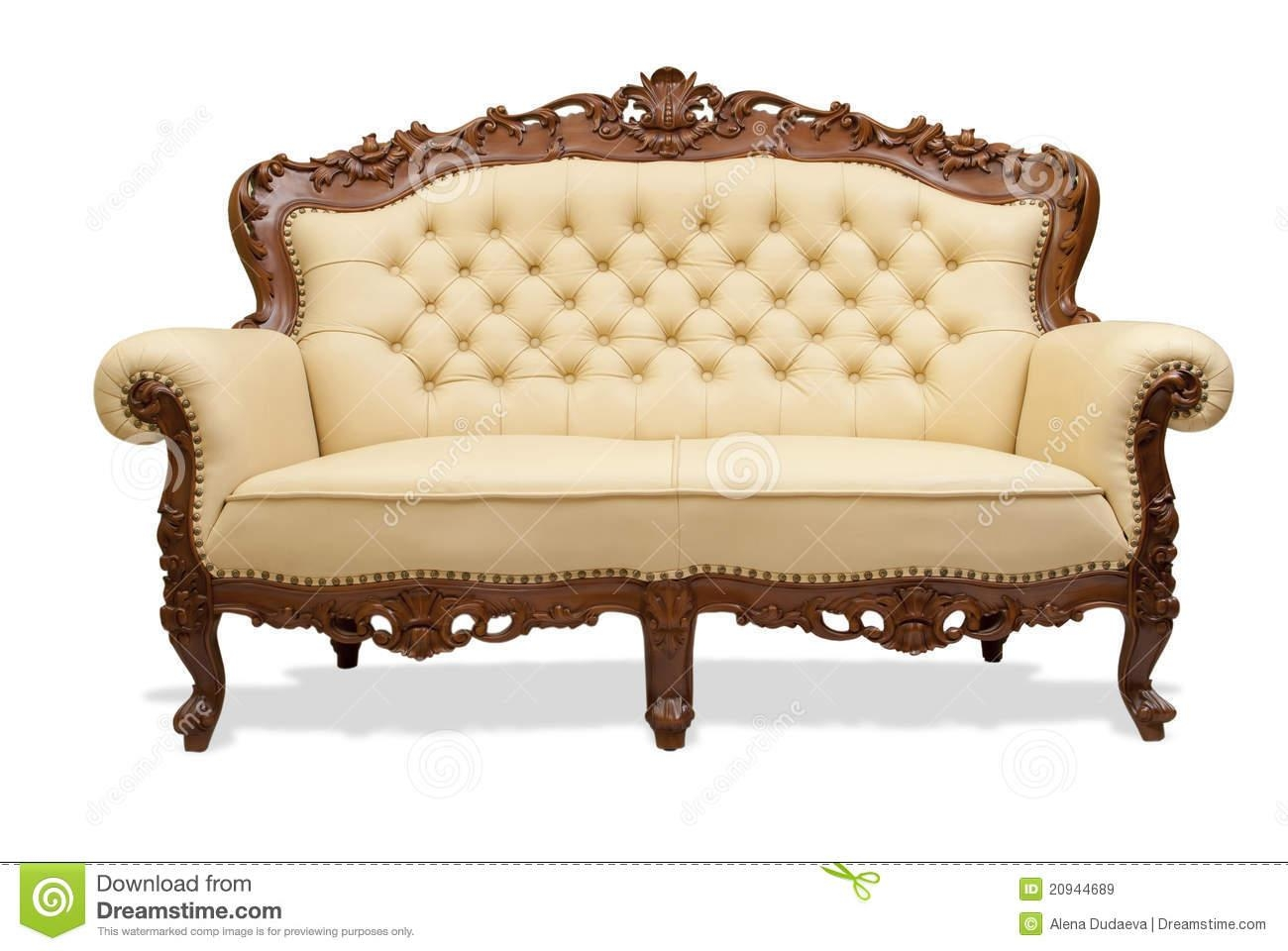 Classical Carved Wooden Sofa Isolate On White Stock Photos – Image Regarding Carved Wood Sofas (Image 7 of 20)