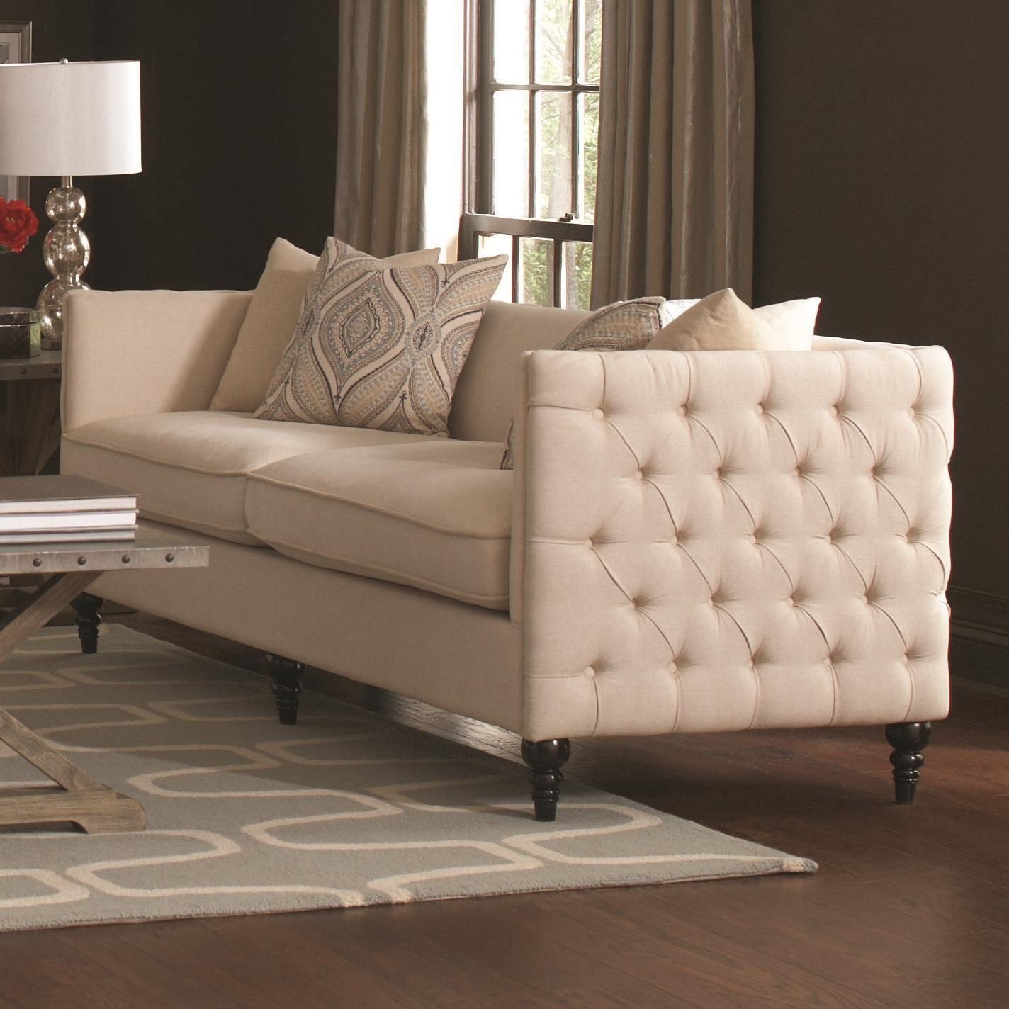 Claxton Traditional Tuxedo Sofa With Tufting Coaster 504891 Pertaining To Coasters Sofas (View 7 of 20)