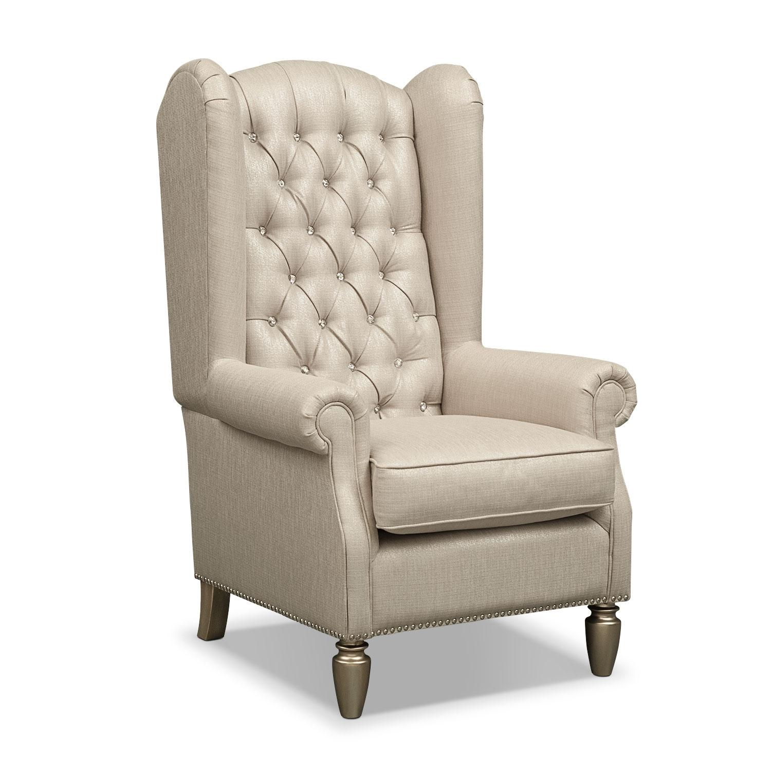 Cleo Accent Chair – Platinum | Value City Furniture Throughout Accent Sofa Chairs (Image 10 of 20)