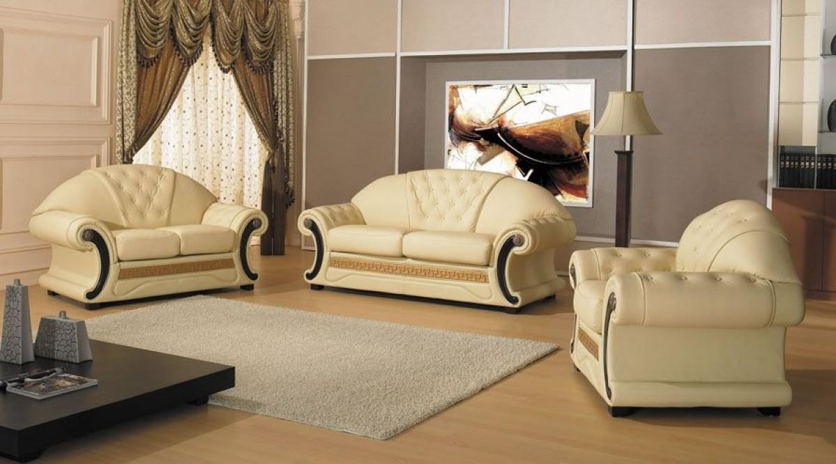Cleopatra – Traditional Leather Sofa Set Pertaining To Cleopatra Sofas (Image 4 of 20)