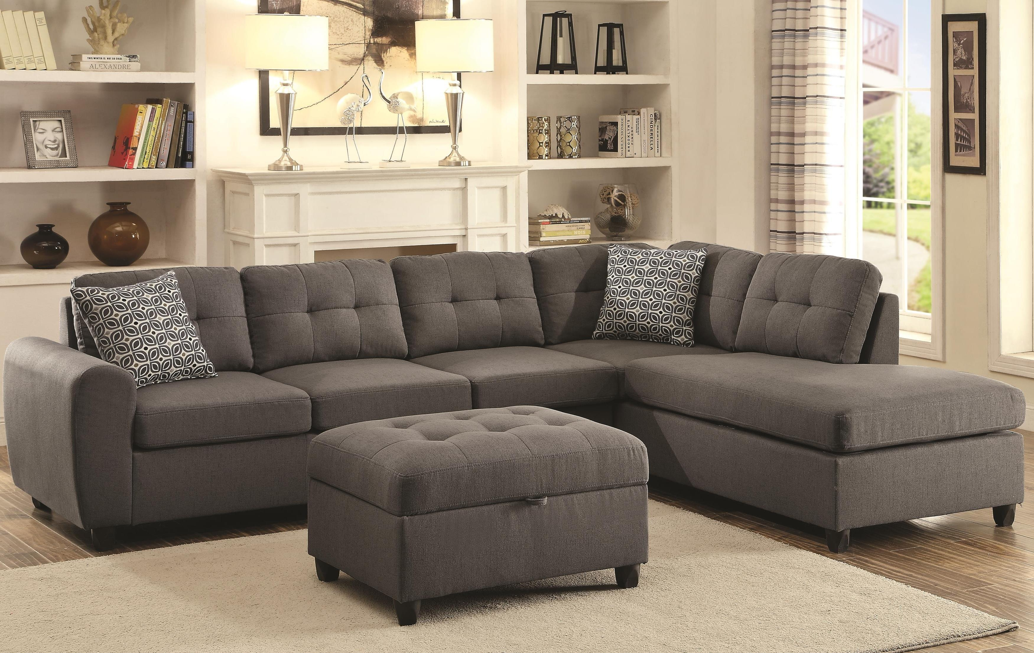 Coaster 500413 Sofa Chaise Sectional With Steel Grey Fabric Upholstery Within Coasters Sofas (Image 4 of 20)