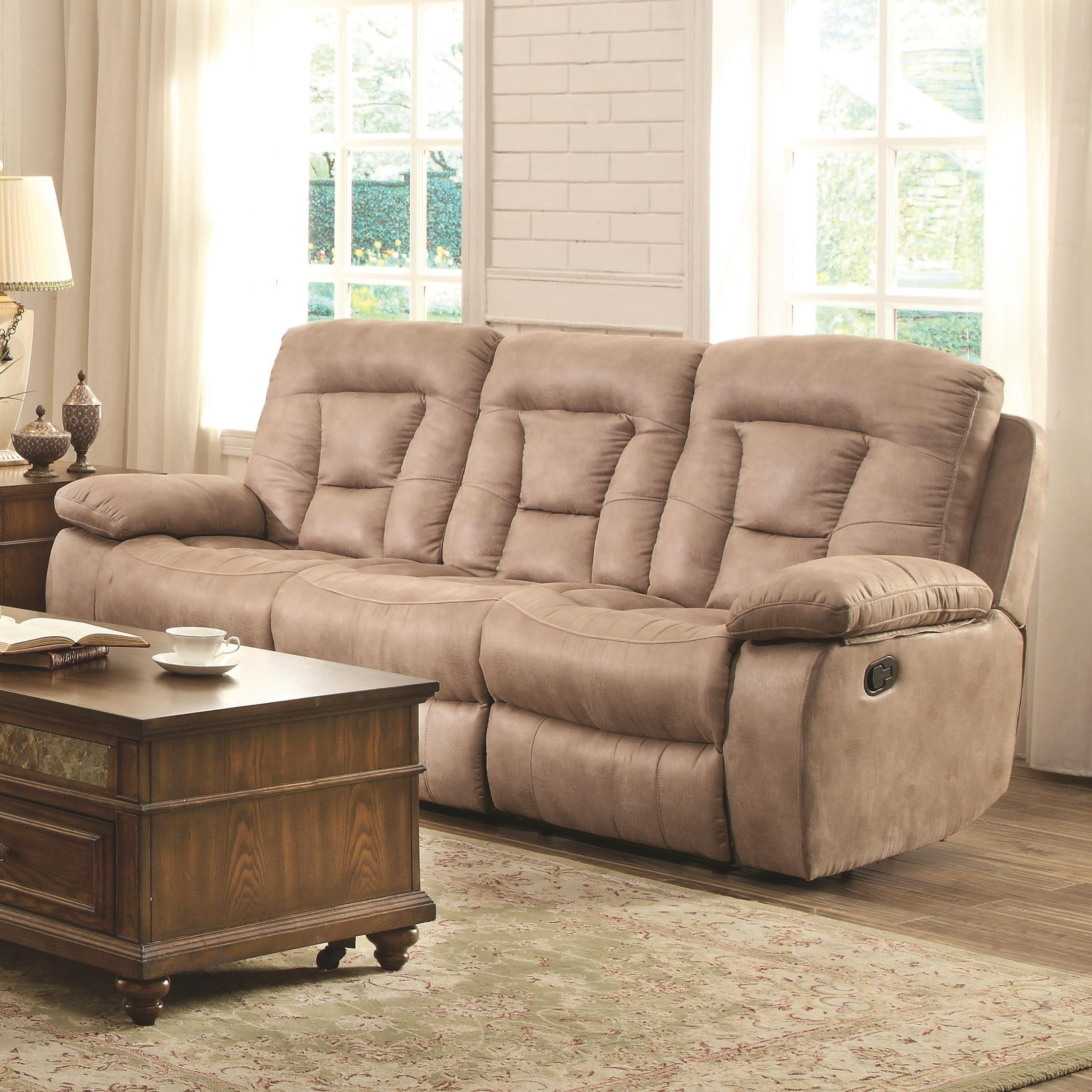 Coaster 601861 Evensky Reclining Sofa With Bone Performance Upholstery With Regard To Coasters Sofas (Image 5 of 20)