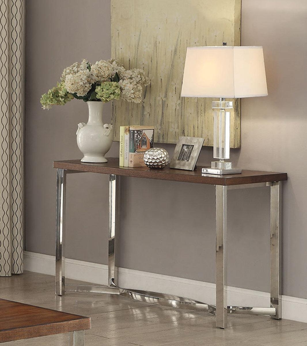 Coaster 705079 Sofa Table – Dark Brown/chrome 705079 At Homelement Pertaining To Chrome Sofa Tables (Photo 19 of 20)