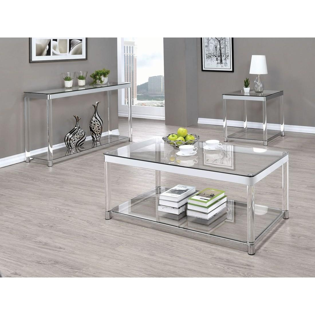 Coaster 720749 Sofa Table In Chrome/clear Acrylic With Regard To Chrome Sofa Tables (Image 5 of 20)