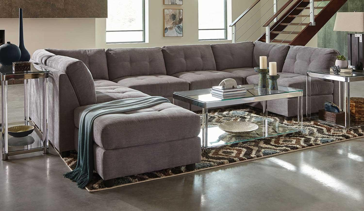 Coaster Claude Sectional Sofa Set – Dove 551004 Sectional Set At Regarding Coaster Sectional Sofas (Image 4 of 20)