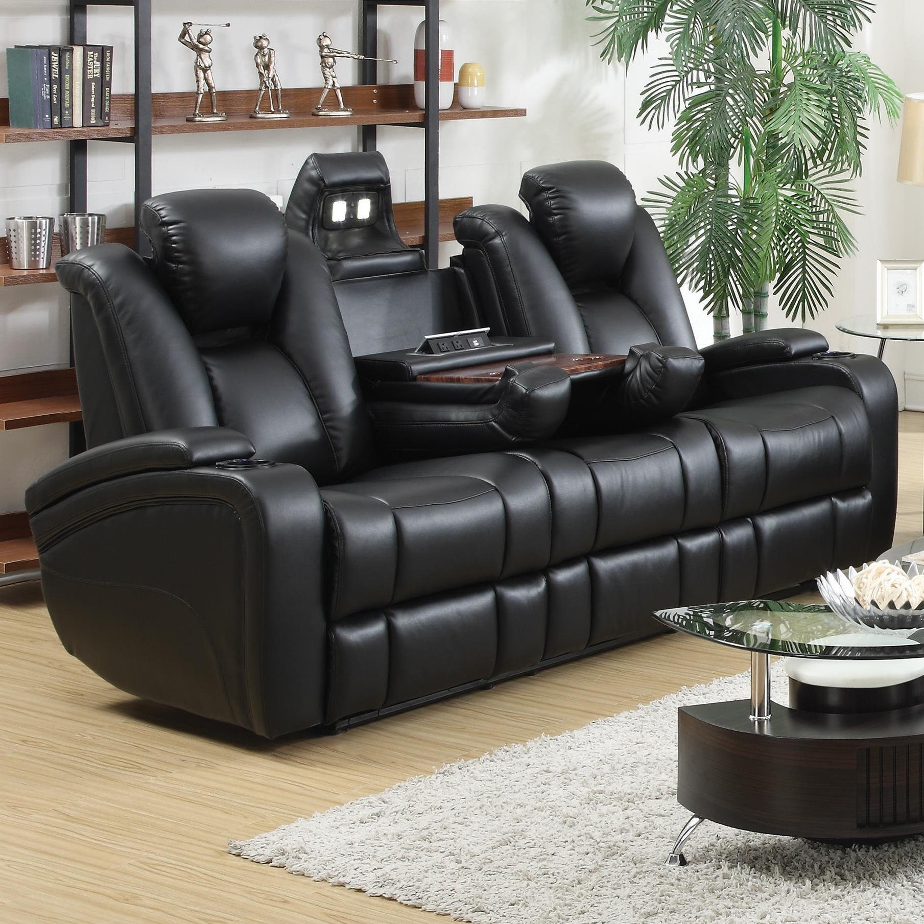 Coaster Delange Reclining Power Sofa With Adjustable Headrests Throughout Sofa Chair Recliner (Image 6 of 20)