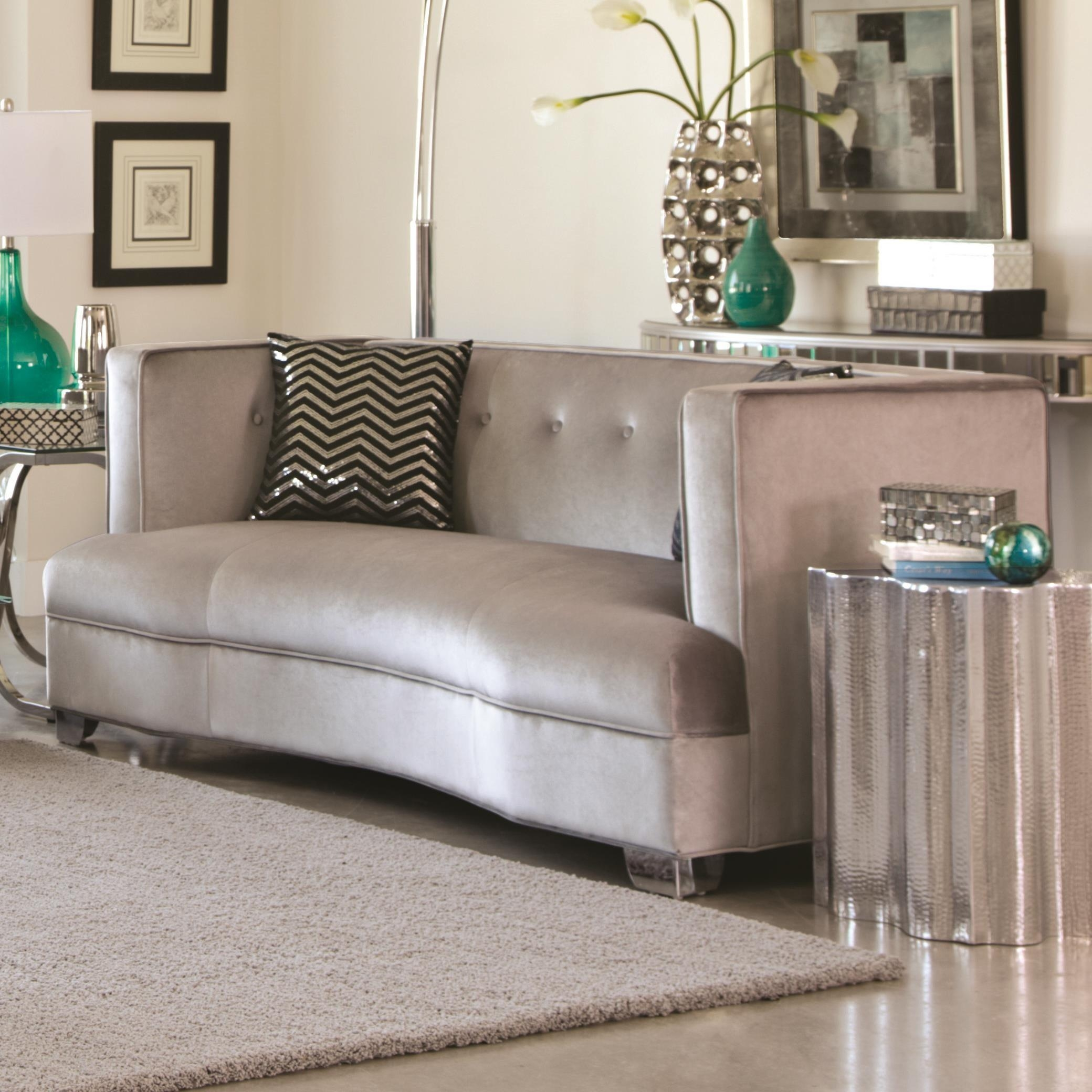 Coaster Furniture 505882 Caldwell Love Seat Silver Velvet Upholstery Inside Coasters Sofas (View 17 of 20)