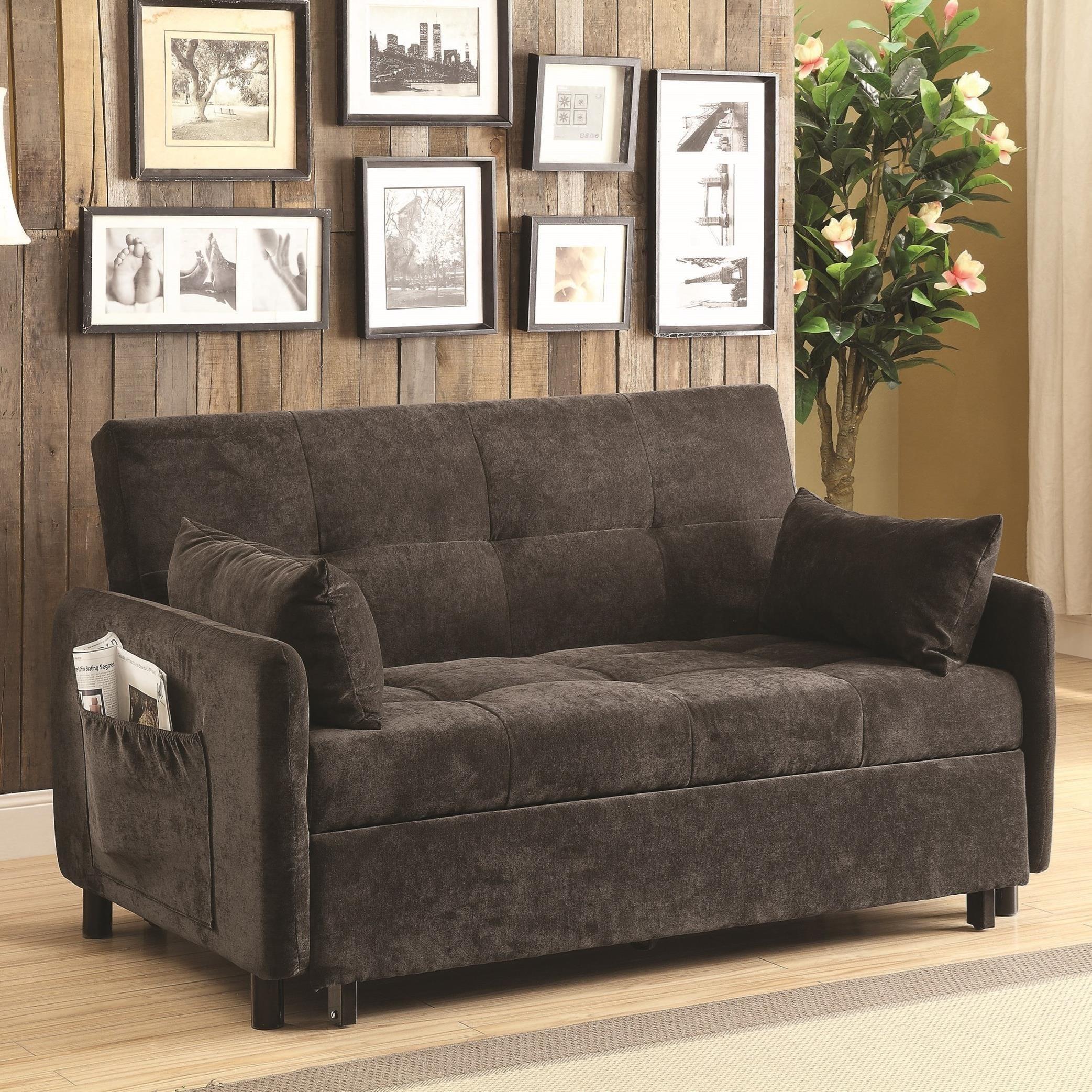 Coaster Futons Dark Brown Sofa Bed – Del Sol Furniture – Futons Regarding Coaster Futon Sofa Beds (Image 11 of 20)