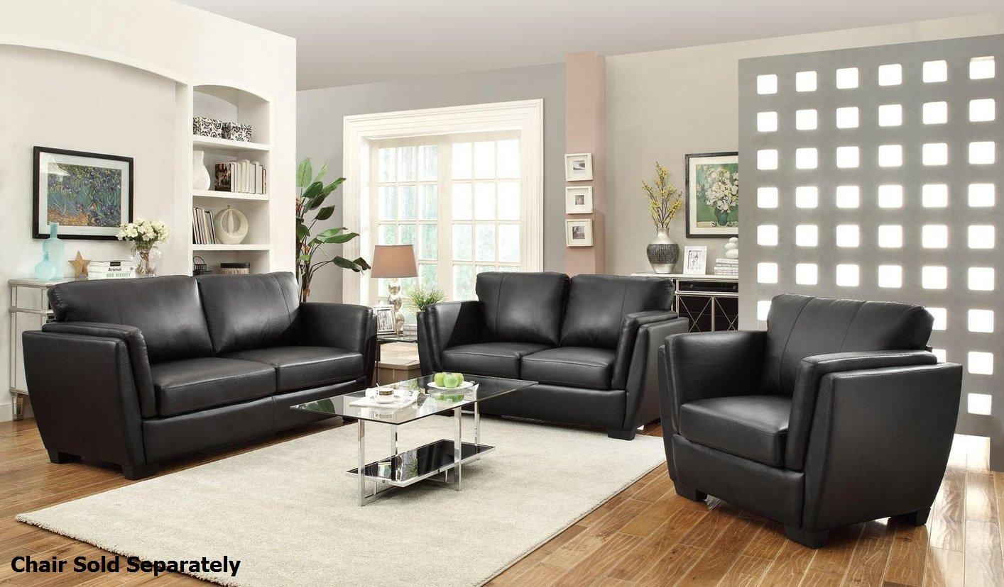 Coaster Lois 503684 503685 Black Leather Sofa And Loveseat Set With Black Leather Sofas And Loveseat Sets (Image 13 of 20)