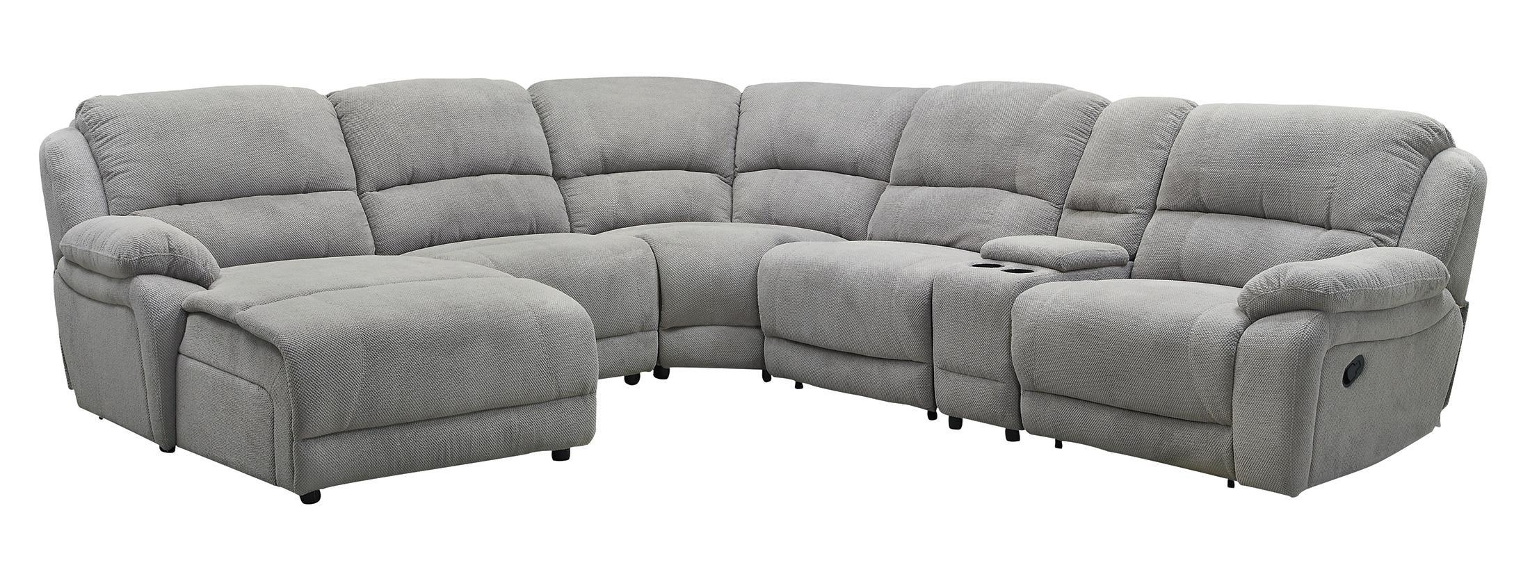 Coaster Mackenzie Silver 6 Piece Reclining Sectional Sofa With For 6 Piece Sectional Sofas Couches (Image 7 of 20)