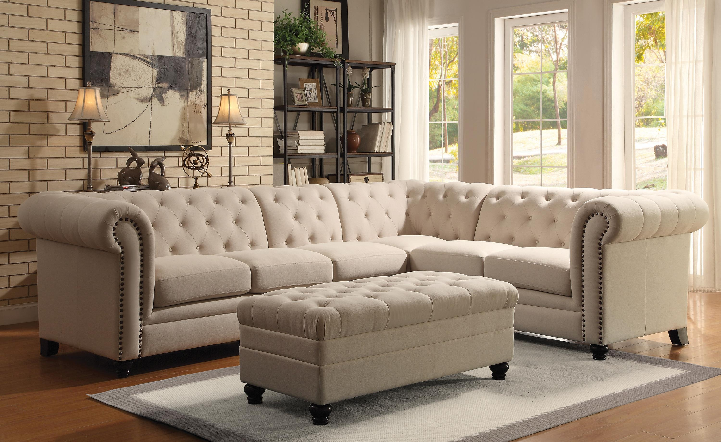Coaster Roy Button Tufted Sectional Sofa With Armless Chair Inside Traditional Sectional Sofas (Image 4 of 20)