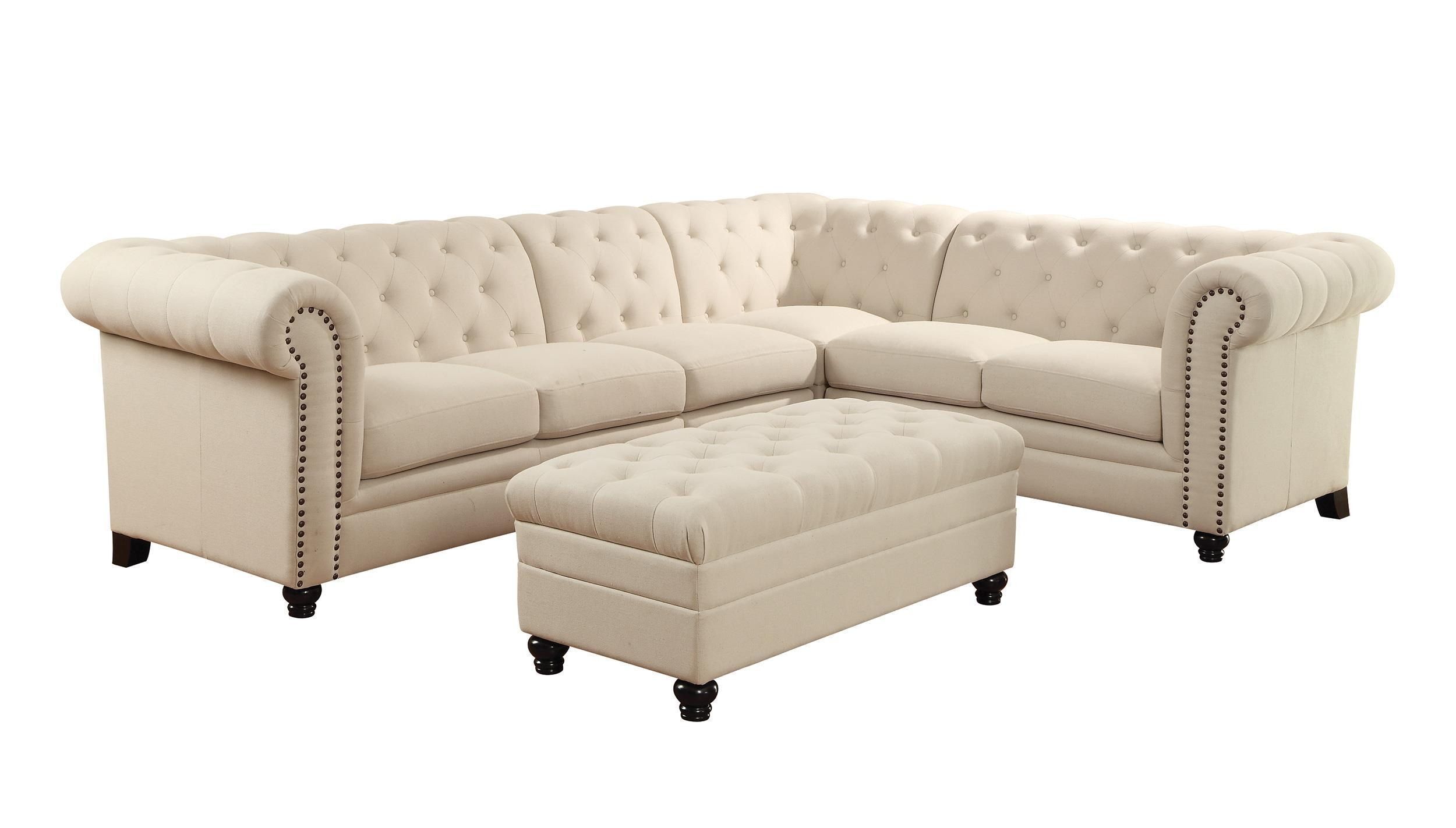 Coaster Roy Button Tufted Sectional Sofa With Armless Chair Pertaining To Armless Sectional Sofa (Image 3 of 15)