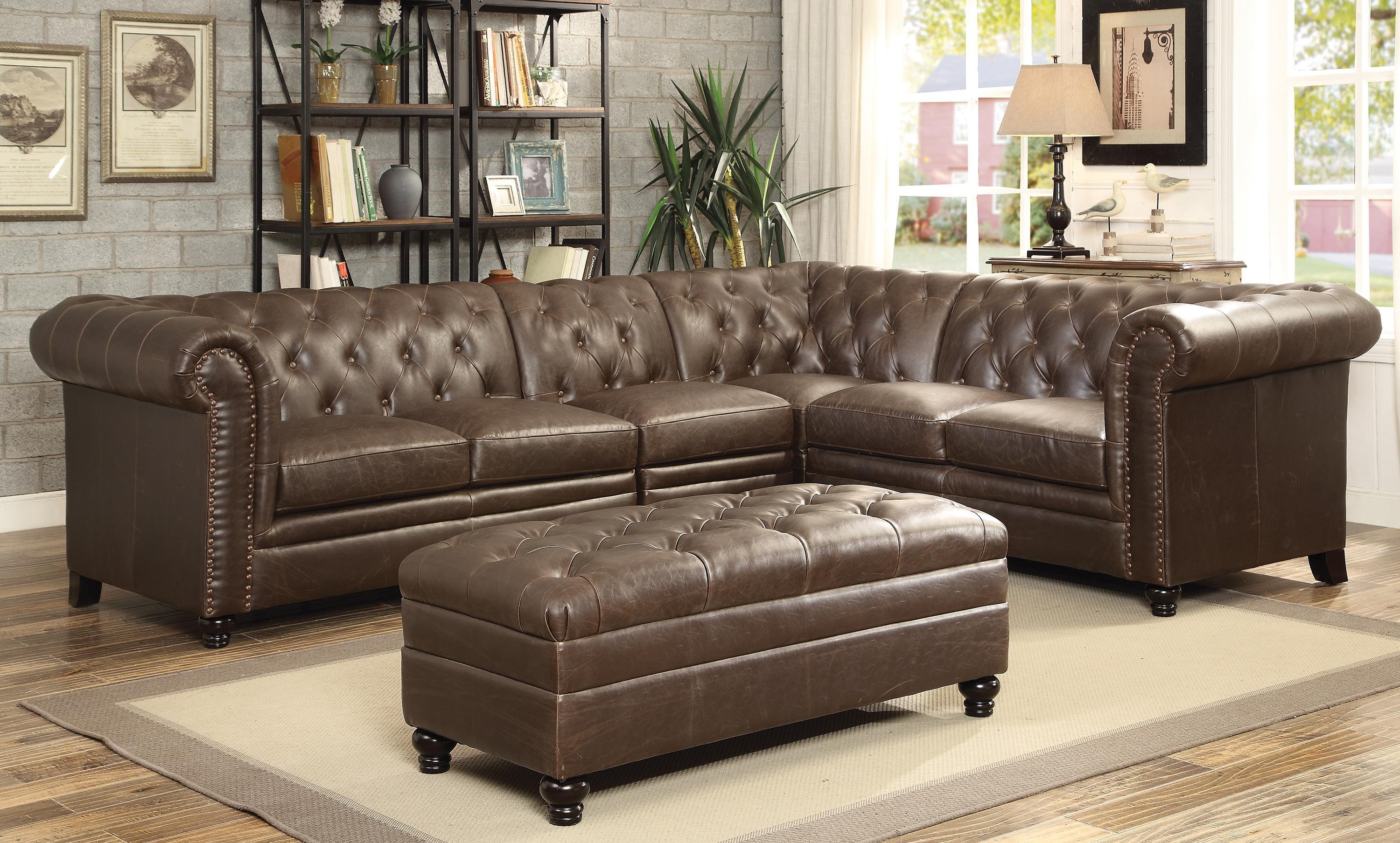 Coaster Roy Button Tufted Sectional Sofa With Armless Chair With Regard To Brown Tufted Sofas (Image 7 of 20)