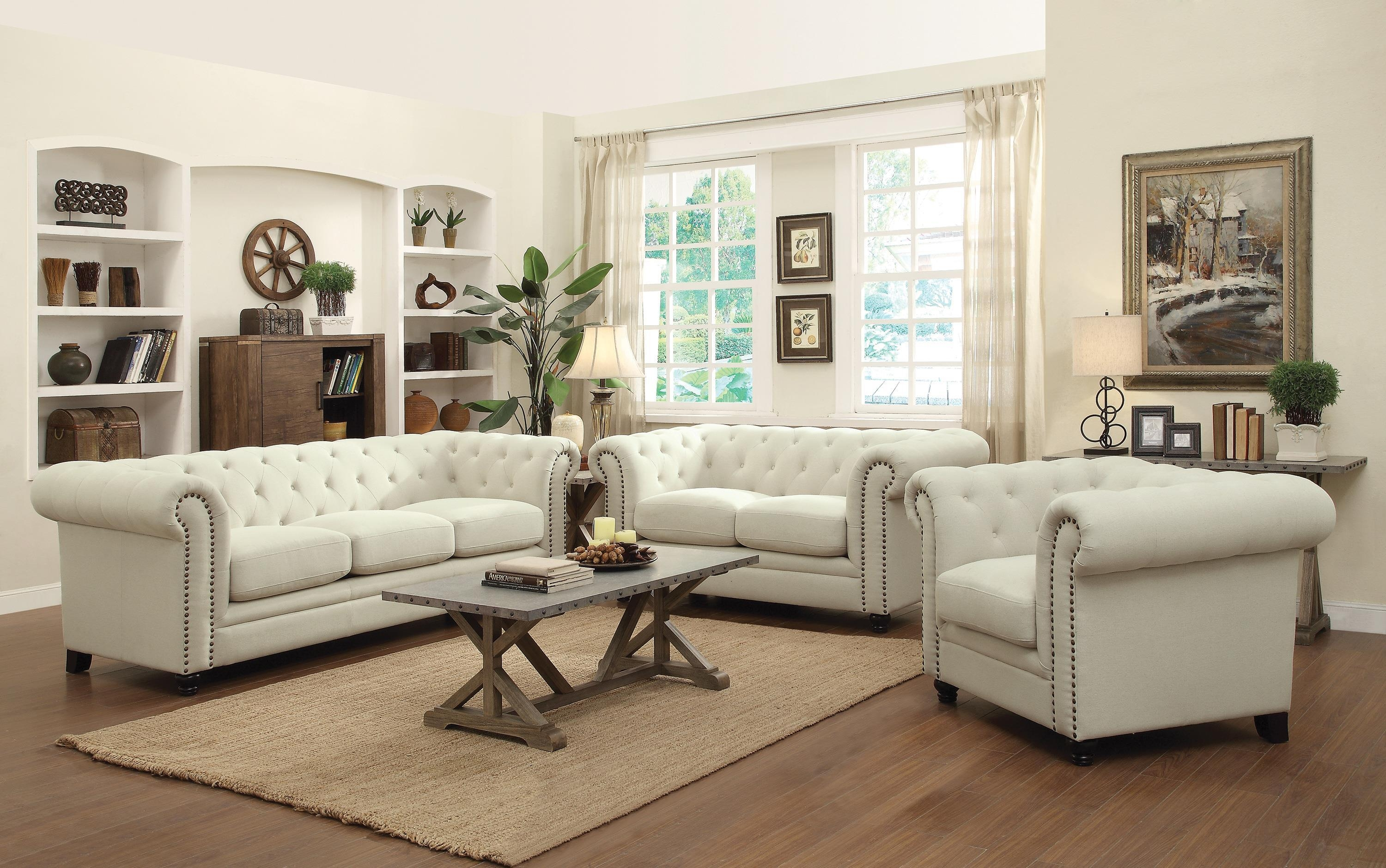 Coaster Roy Traditional Button Tufted Love Seat With Rolled Back Regarding Sofa Loveseat And Chairs (View 2 of 20)