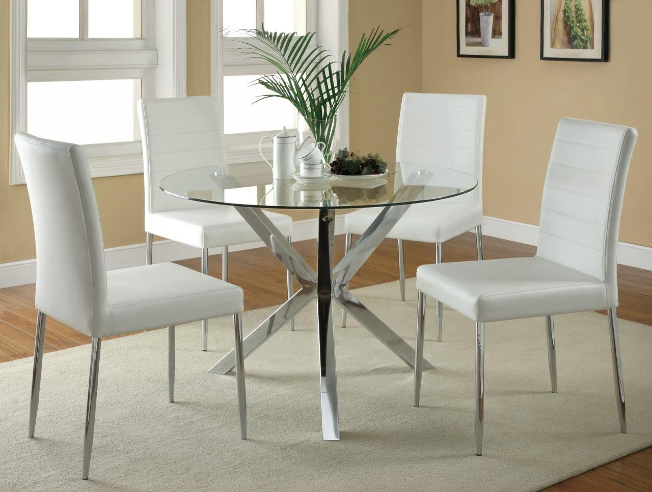 Coaster Vance Glass Top W/ Chrome Base Dining Set W/ White Chairs Within Dining Table With Sofa Chairs (View 19 of 20)