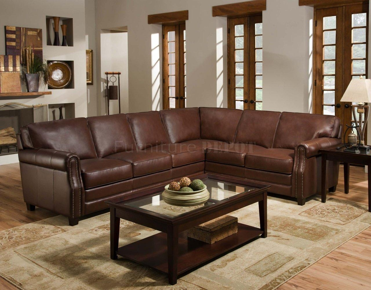 Cocoa Brown Top Grain Italian Leather Traditional Sectional Sofa Throughout Traditional Sectional Sofas Living Room Furniture (Image 2 of 20)