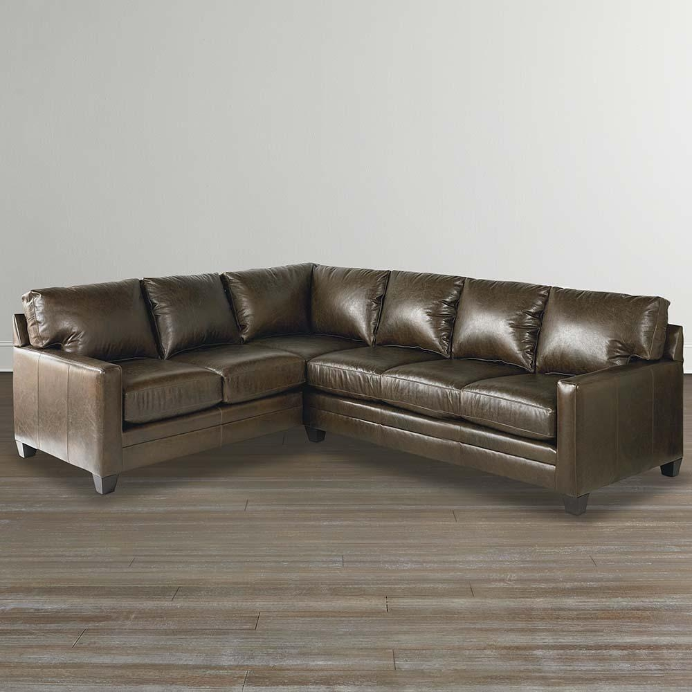 Cocoa Custom Leather L Shaped Sectional With Regard To Custom Leather Sectional (Image 4 of 15)