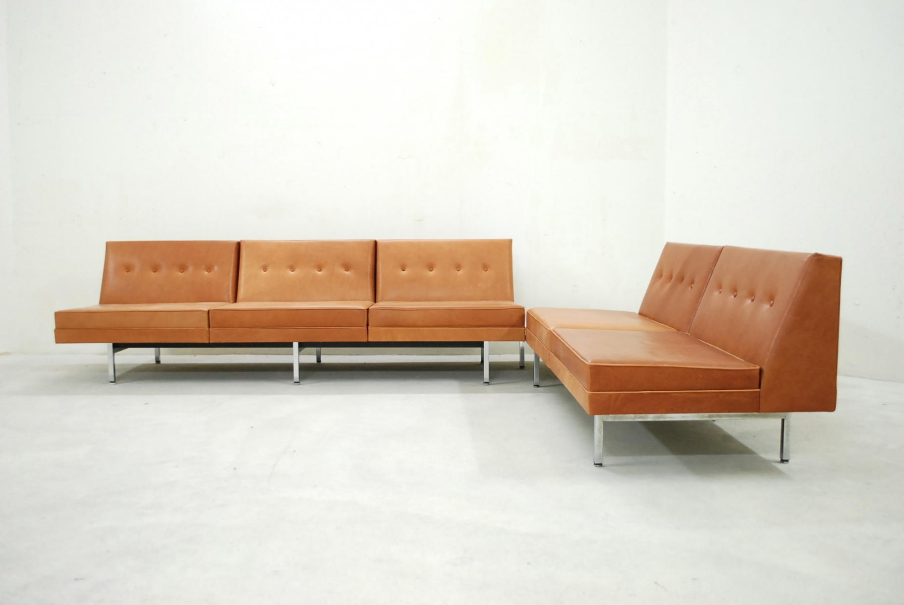 Cognac Leather Modular Sofa Setgeorge Nelson For Herman Miller Inside George Nelson Sofas (View 9 of 20)