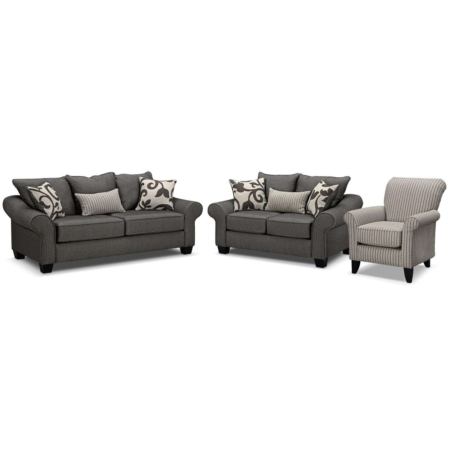 Colette Sofa And Accent Chair Set – Gray | Value City Furniture In Sofa And Accent Chair Set (View 13 of 20)
