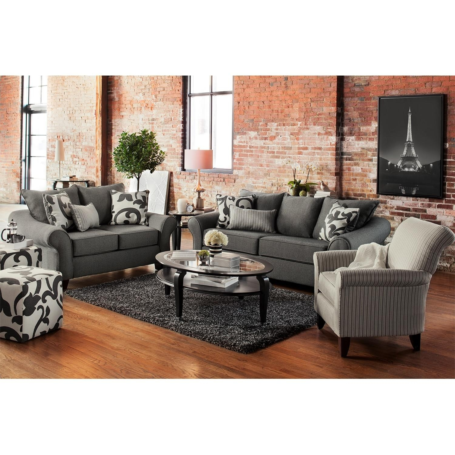 Colette Sofa, Loveseat And Accent Chair Set – Gray | American For Sofa Loveseat And Chair Set (View 7 of 20)