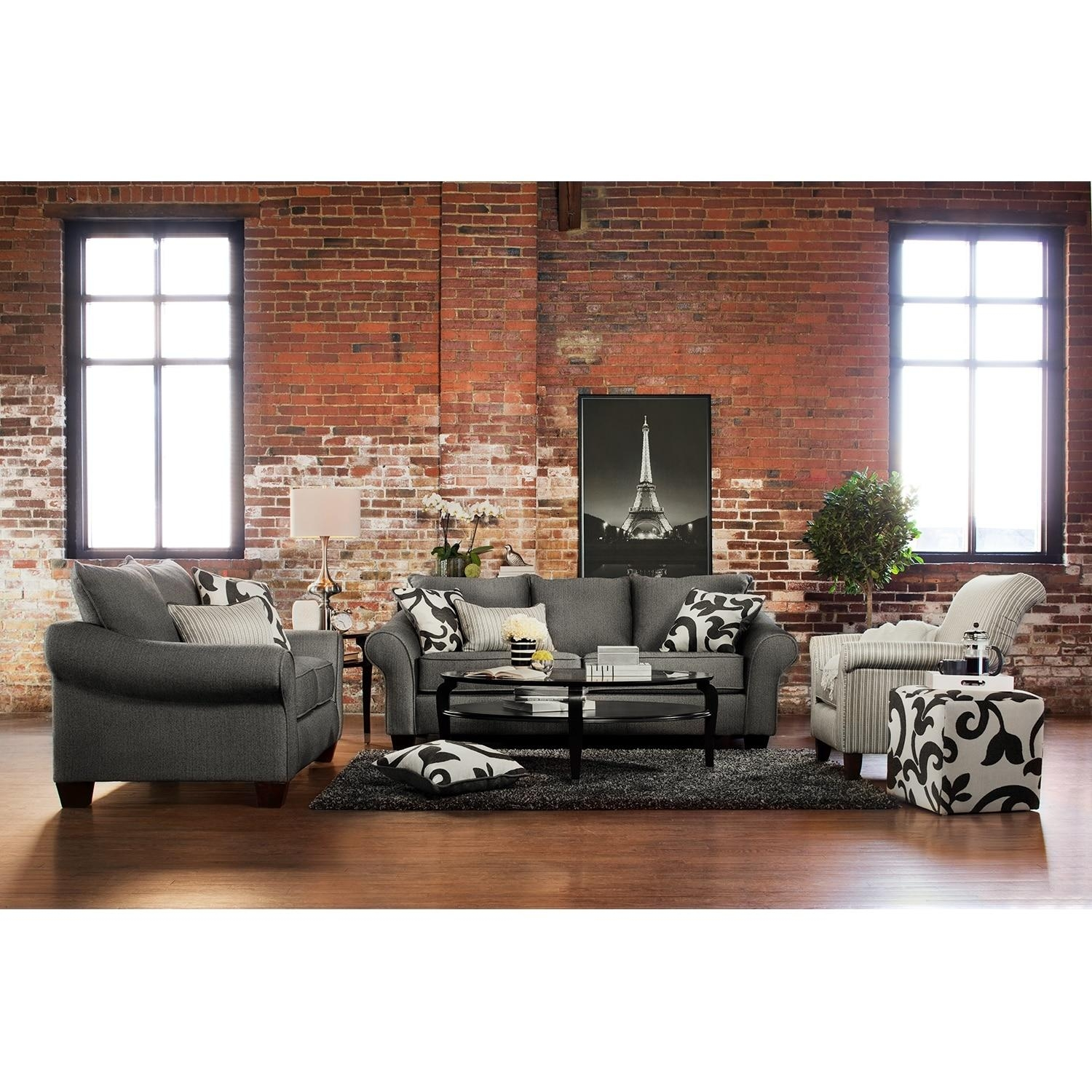 Colette Sofa, Loveseat And Accent Chair Set – Gray | American Within Sofa Loveseat And Chairs (Image 9 of 20)