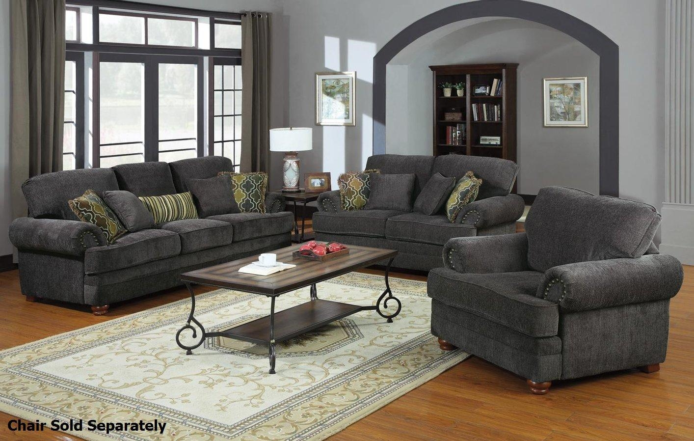 Colton Grey Fabric Sofa And Loveseat Set – Steal A Sofa Furniture Throughout Sofa Loveseat And Chairs (Image 10 of 20)