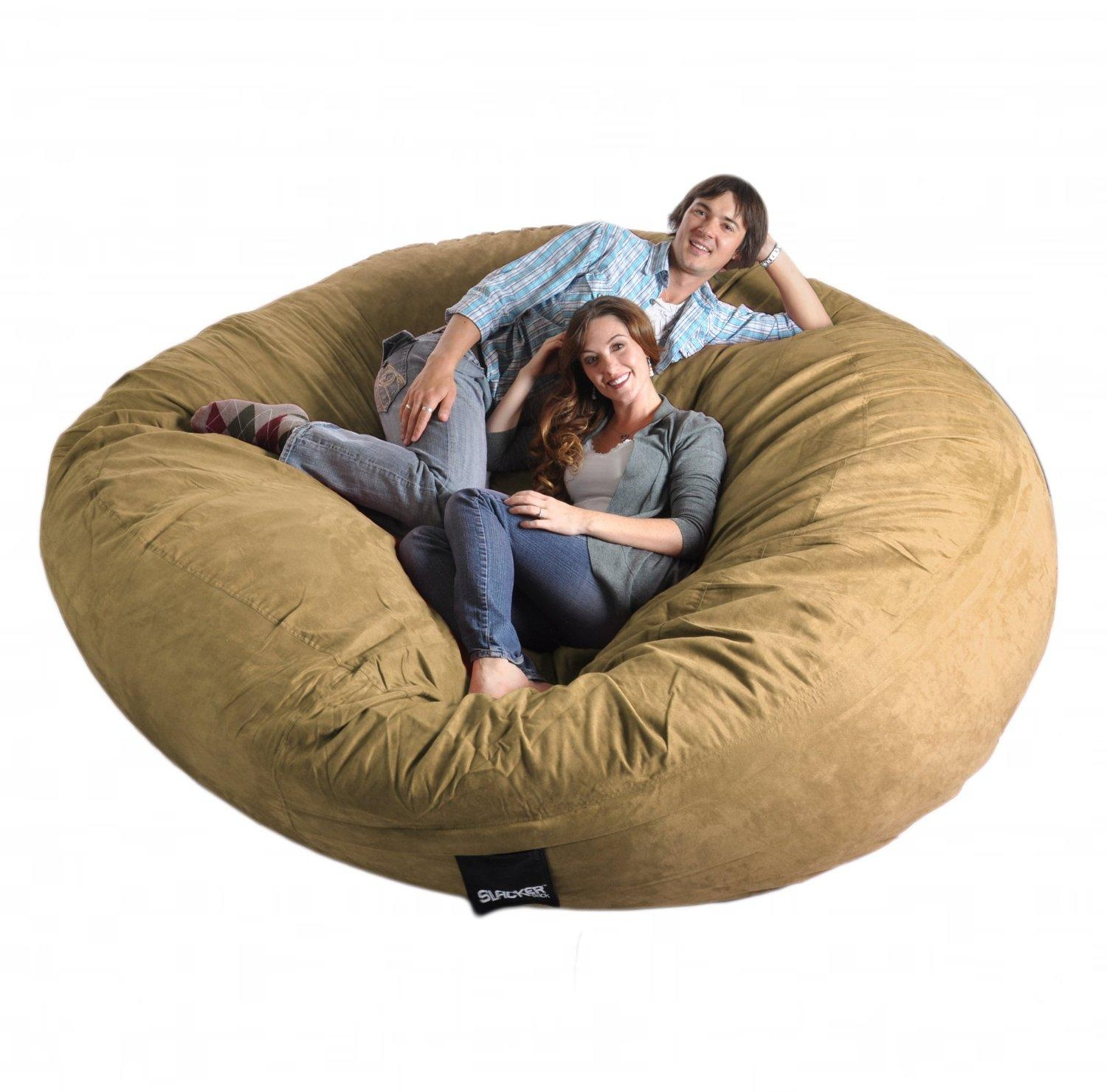 Com: 8 Feet Round Light Brown Tan Xxxl Foam Bean Bag Chair Throughout Giant Bean Bag Chairs (Image 6 of 20)