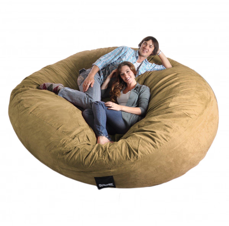 Com: 8 Feet Round Light Brown Tan Xxxl Foam Bean Bag Chair Throughout Giant Bean Bag Chairs (View 20 of 20)