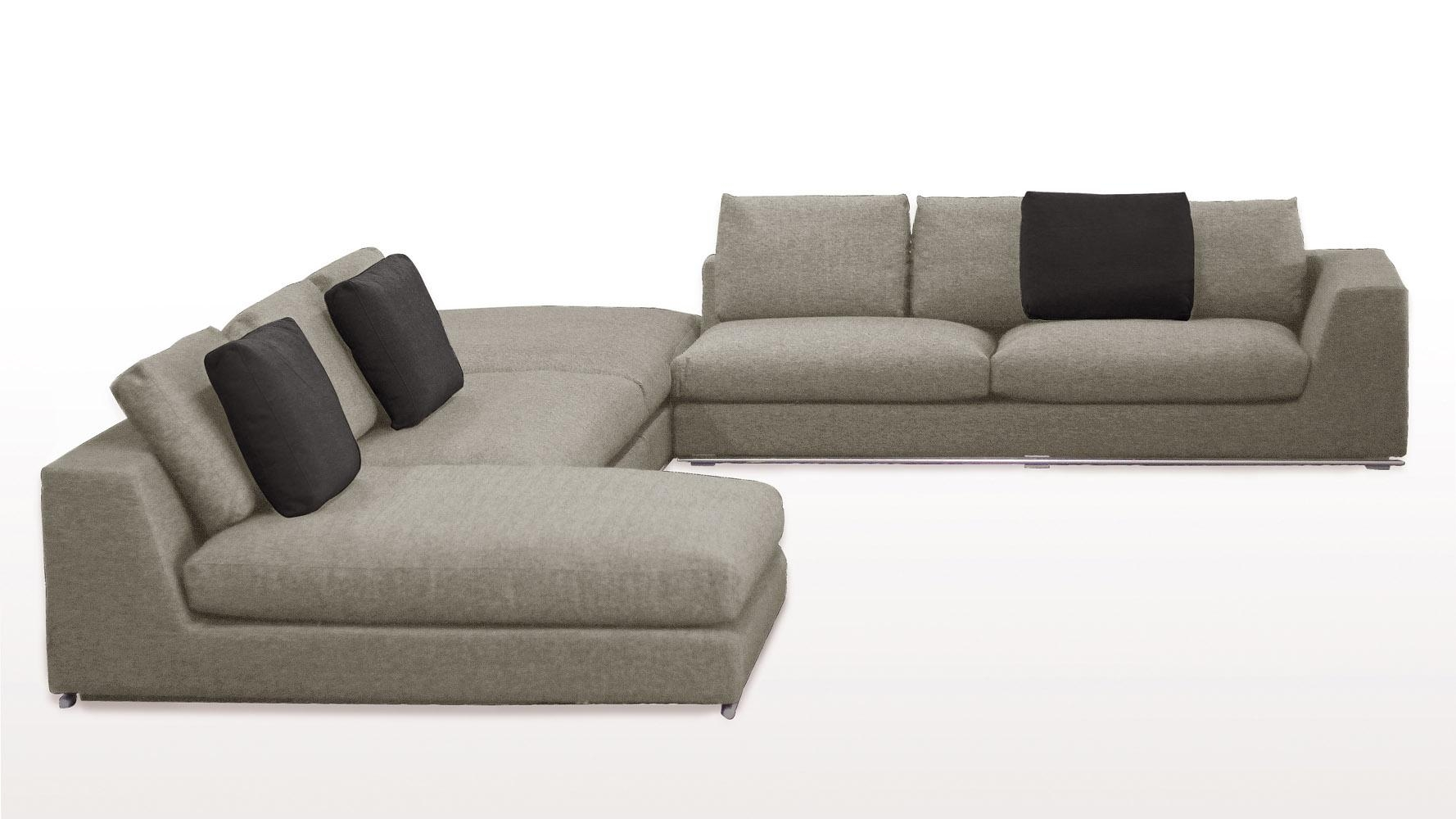 Comodo Sectional Sofa With Ottoman – Grey | Zuri Furniture For Goose Down Sectional Sofa (View 14 of 15)