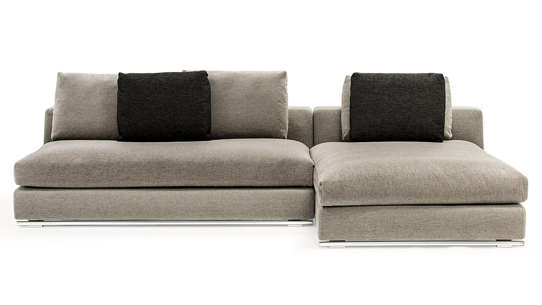 Comodo Sectional Sofa With Ottoman – Grey | Zuri Furniture Throughout Sectional With 2 Chaises (Image 1 of 20)
