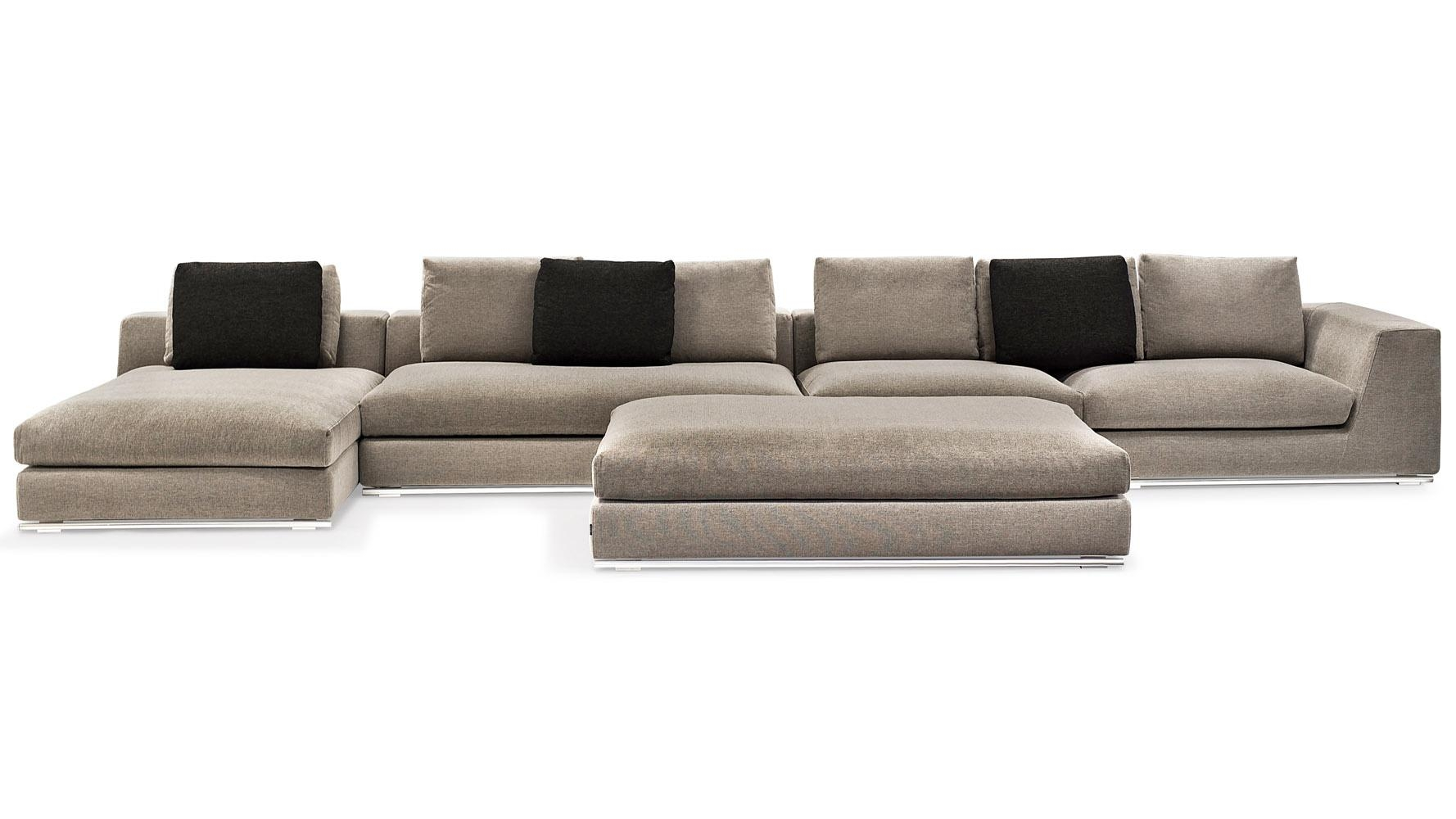 Comodo Sectional Sofa With Ottoman – Grey | Zuri Furniture With Armless Sectional Sofa (Image 4 of 15)