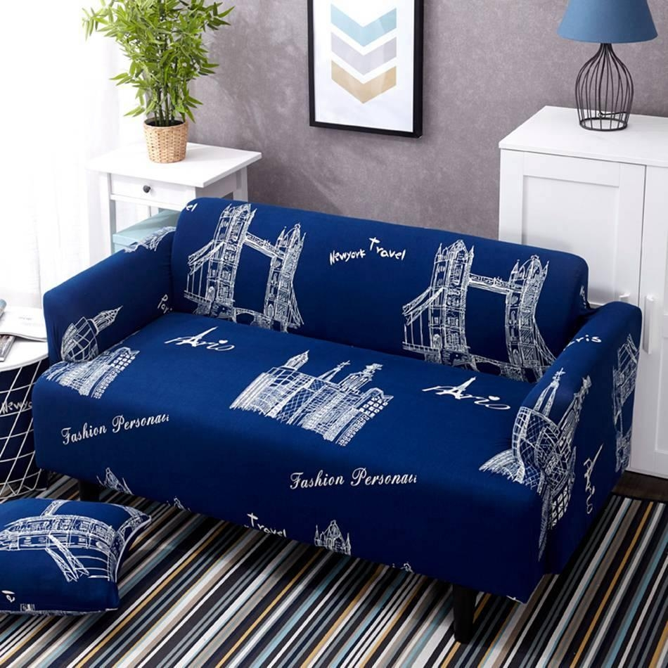 Compare Prices On Blue Sofa Cover  Online Shopping/buy Low Price With Regard To Blue Sofa Slipcovers (Image 6 of 20)