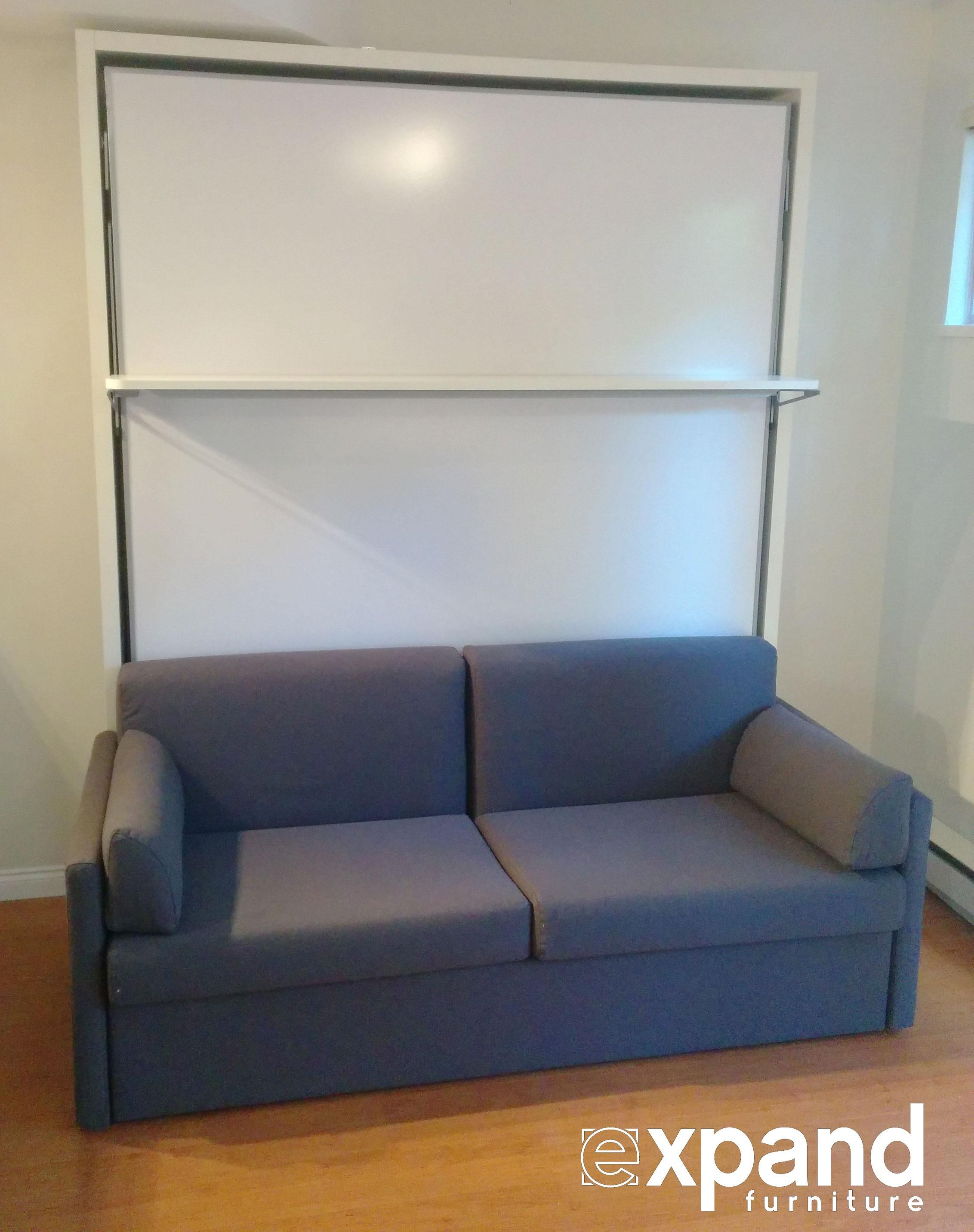 Compatto – Murphy Bed Over Sofa With Floating Shelf | Expand Furniture Throughout Floating Sofas (Image 9 of 20)