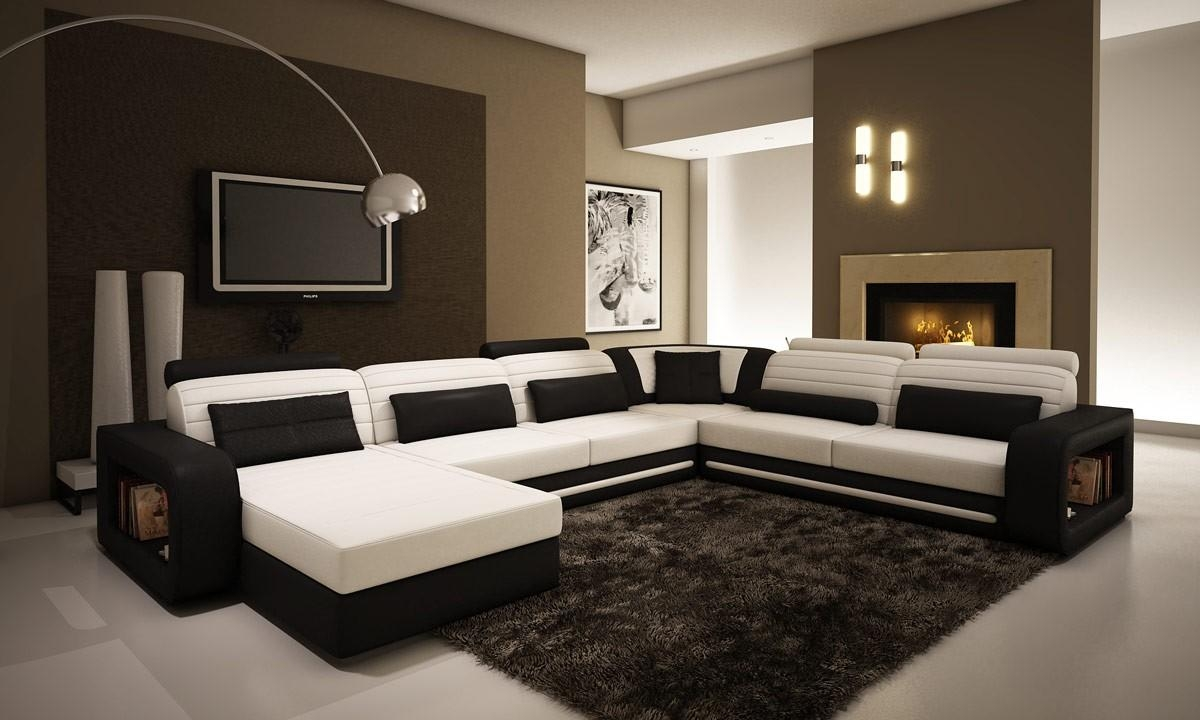 Contemporary Black And White Leather Sectional Sofa Within Black And White Sectional (Image 6 of 15)