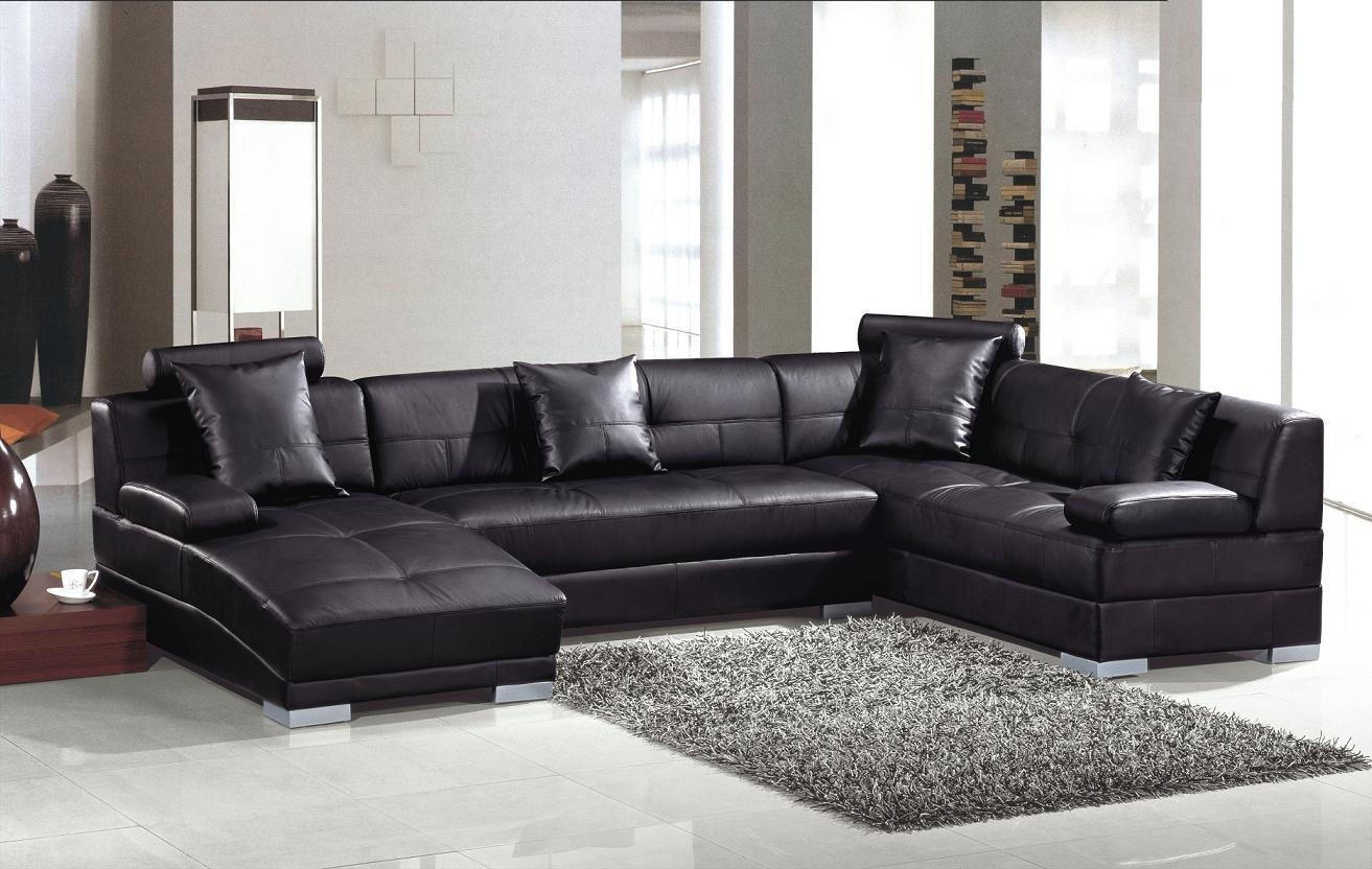 Contemporary Black Leather Soft Sectional Sofa – S3Net With Regard To Soft Sectional Sofas (View 5 of 20)