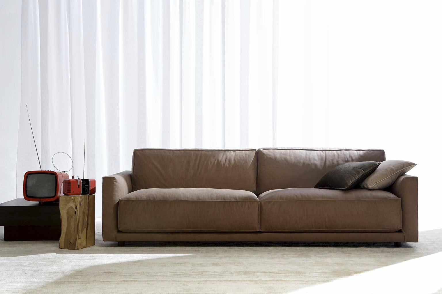 Contemporary Living Room With Brown Leather Couch – Carameloffers Regarding Contemporary Brown Leather Sofas (View 5 of 20)