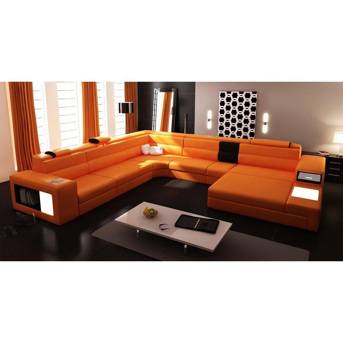 Contemporary & Luxury Furniture; Living Room, Bedroom,la Furniture Regarding Orange Sectional Sofa (View 16 of 20)