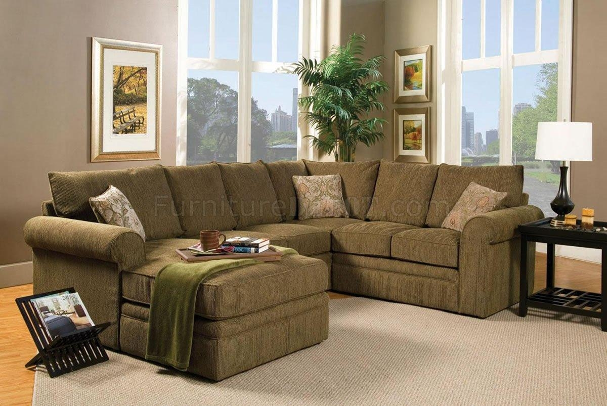 Contemporary Sectional Sofa And Ottoman Set In Chenille Fabric Throughout Leather And Chenille Sectional (Image 4 of 20)