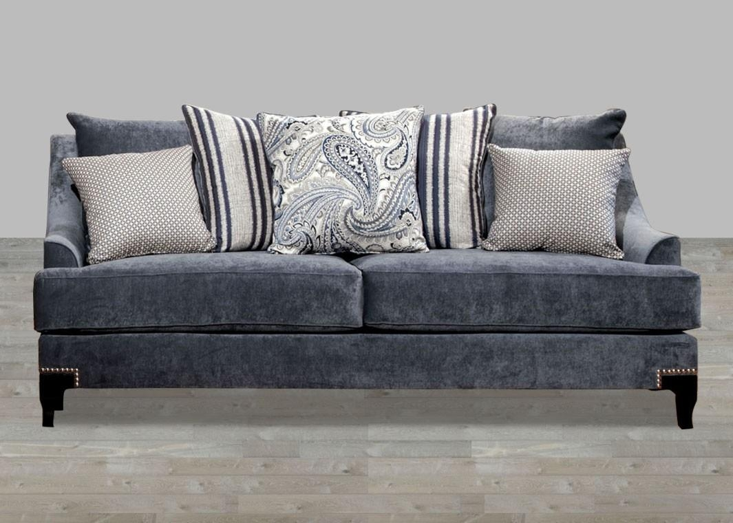 Contemporary Slate Blue Fabric Sofa With Nailhead Trim For Contemporary Fabric Sofas (Image 6 of 20)